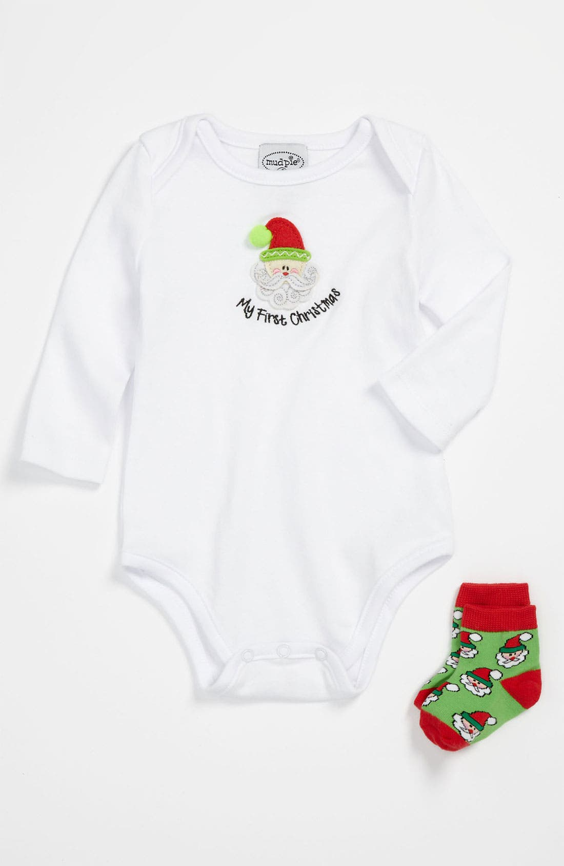 Alternate Image 1 Selected - Mud Pie 'My First Christmas' Bodysuit & Socks (Infant)