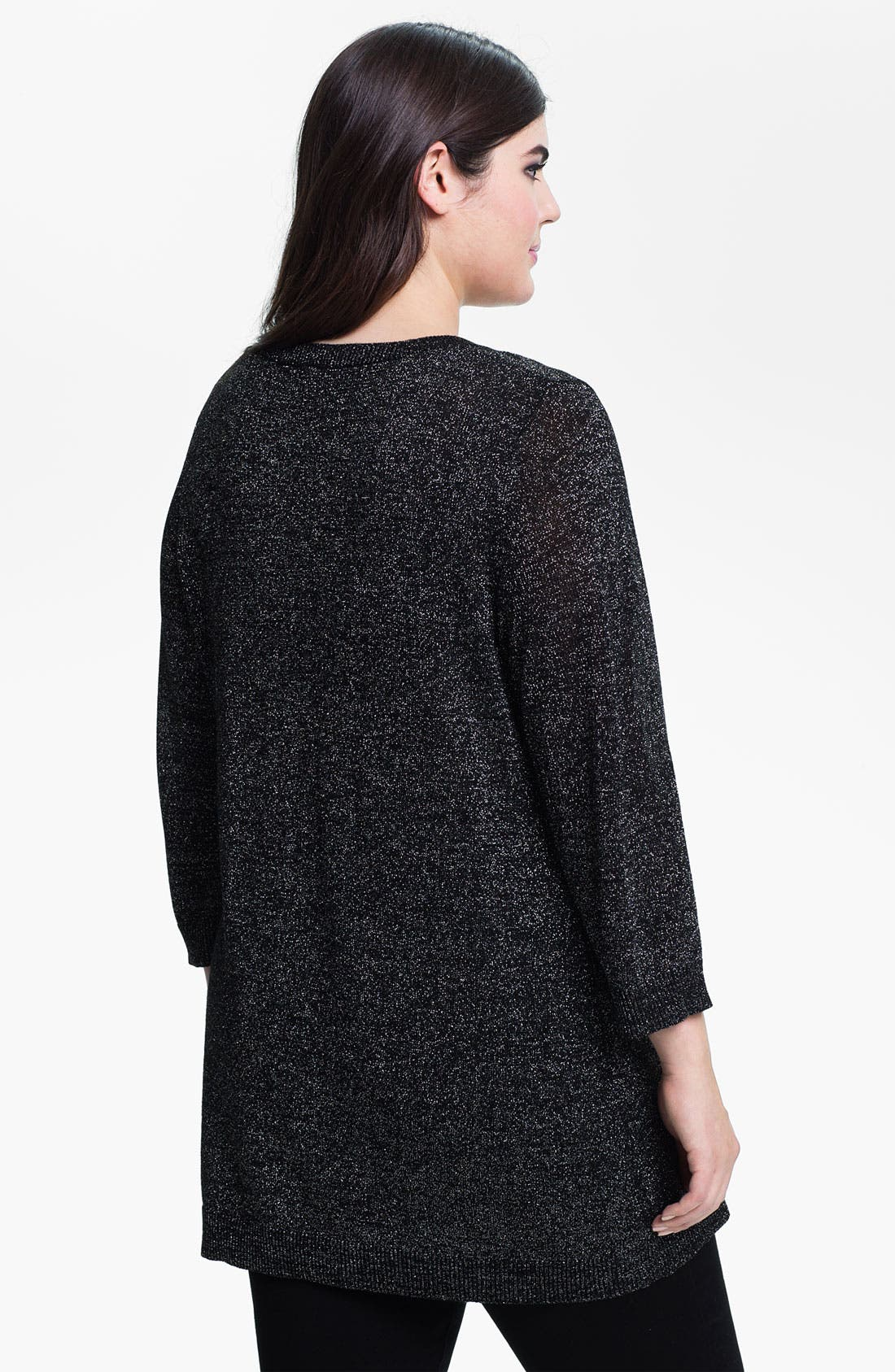 Alternate Image 2  - Evans Metallic Knit Sweater (Plus Size)