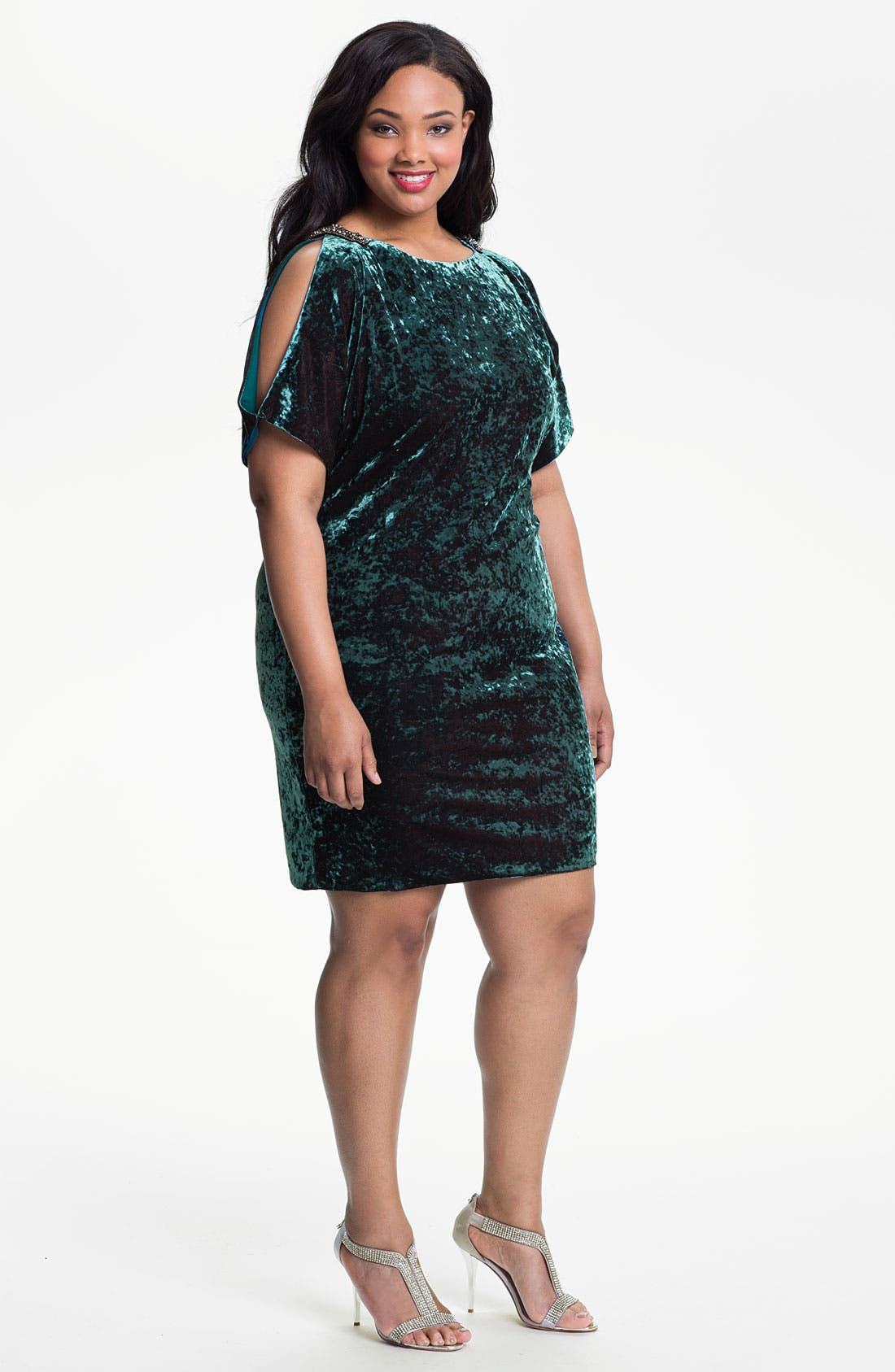 Main Image - Aidan Mattox Split Sleeve Crushed Velvet Shift Dress