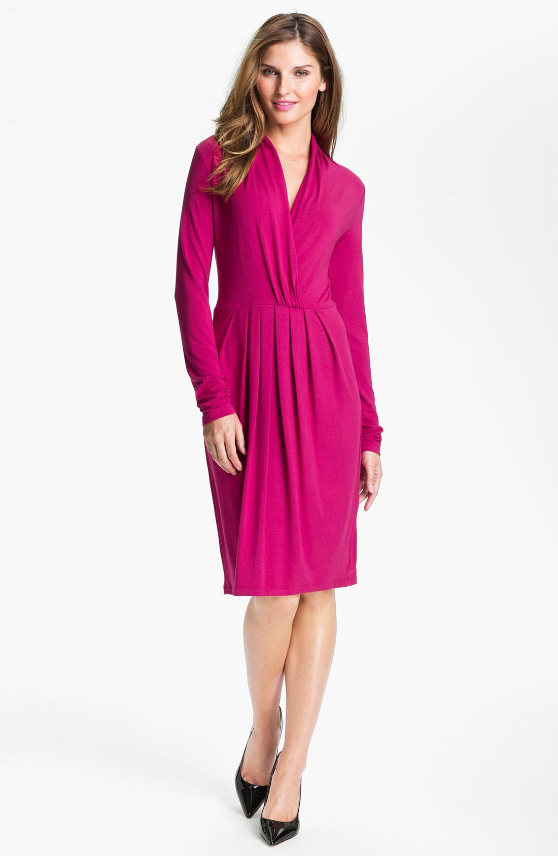 Alternate Image 1 Selected - Karen Kane Surplice Pleated Dress (Online Exclusive)