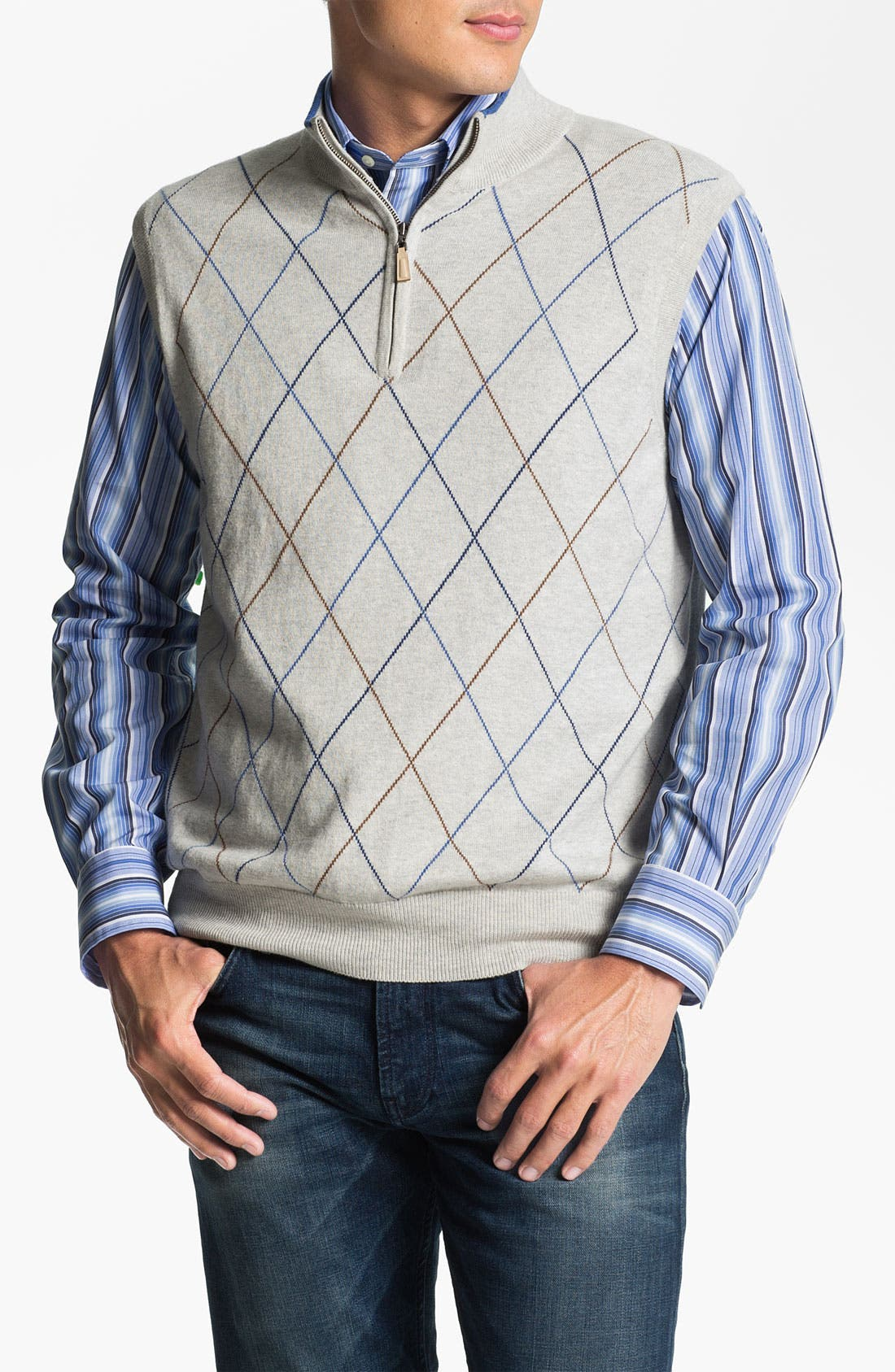 Main Image - Peter Millar Quarter Zip Cotton & Cashmere Sweater Vest