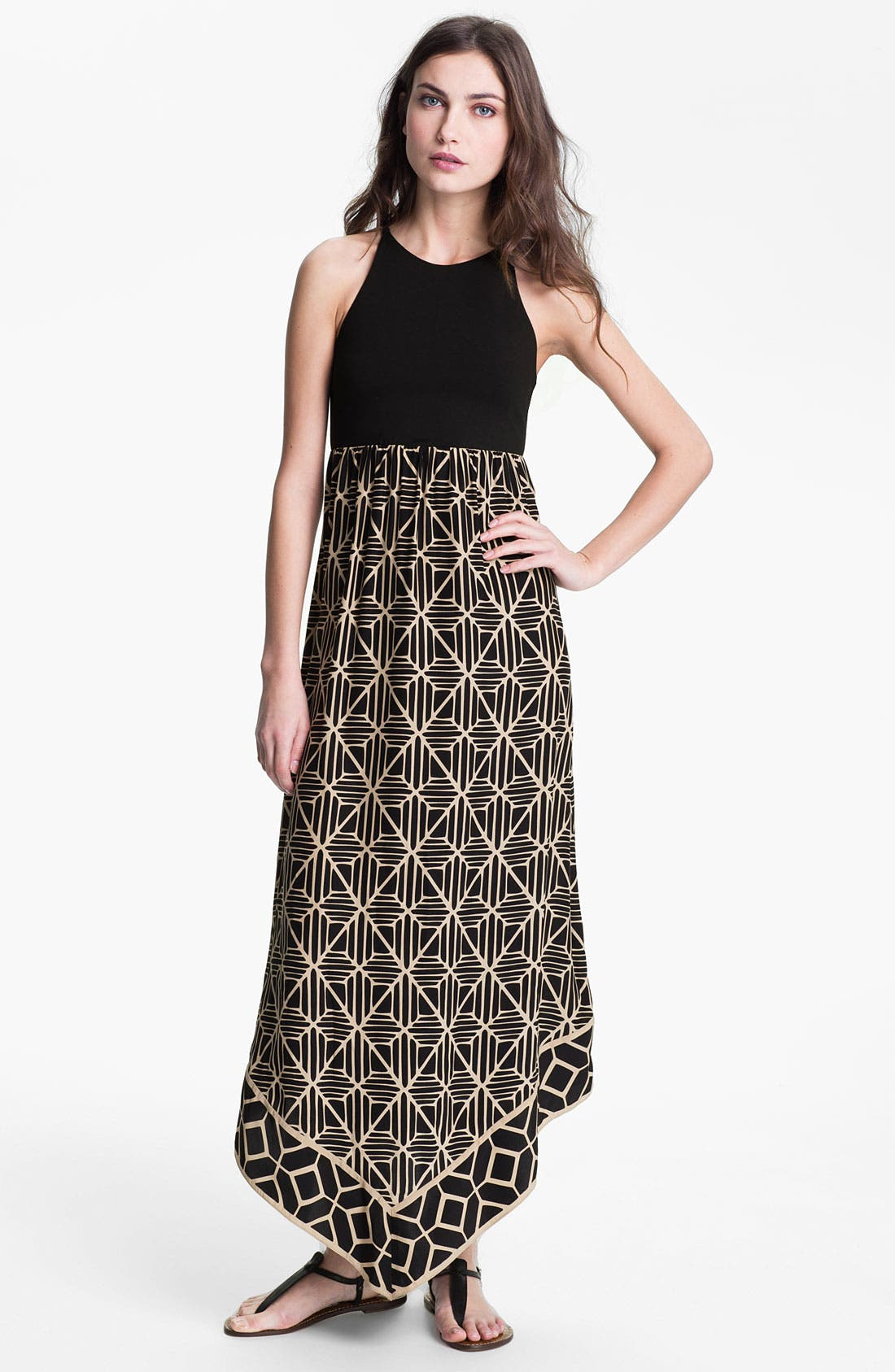 Main Image - ALICE & TRIXIE 'Renay' Racerback Printed Silk Maxi Dress