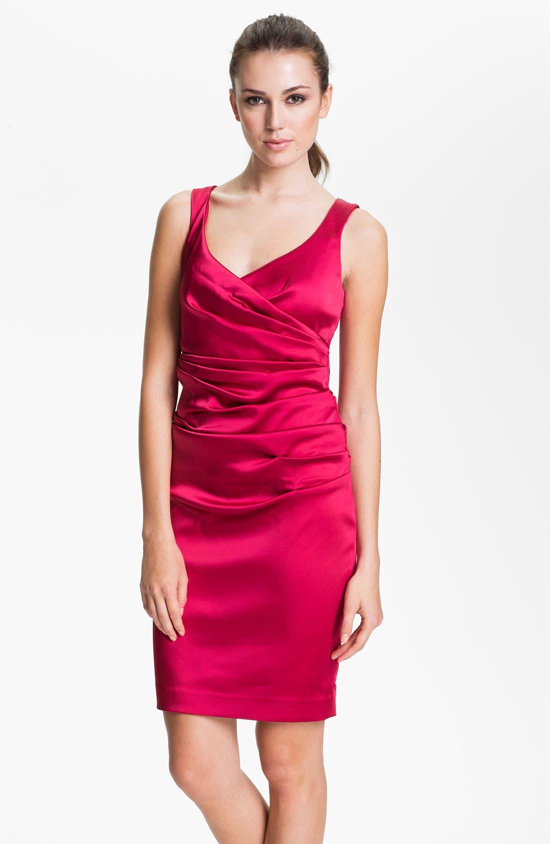 Alternate Image 1 Selected - Calvin Klein V-Neck Ruched Satin Sheath Dress