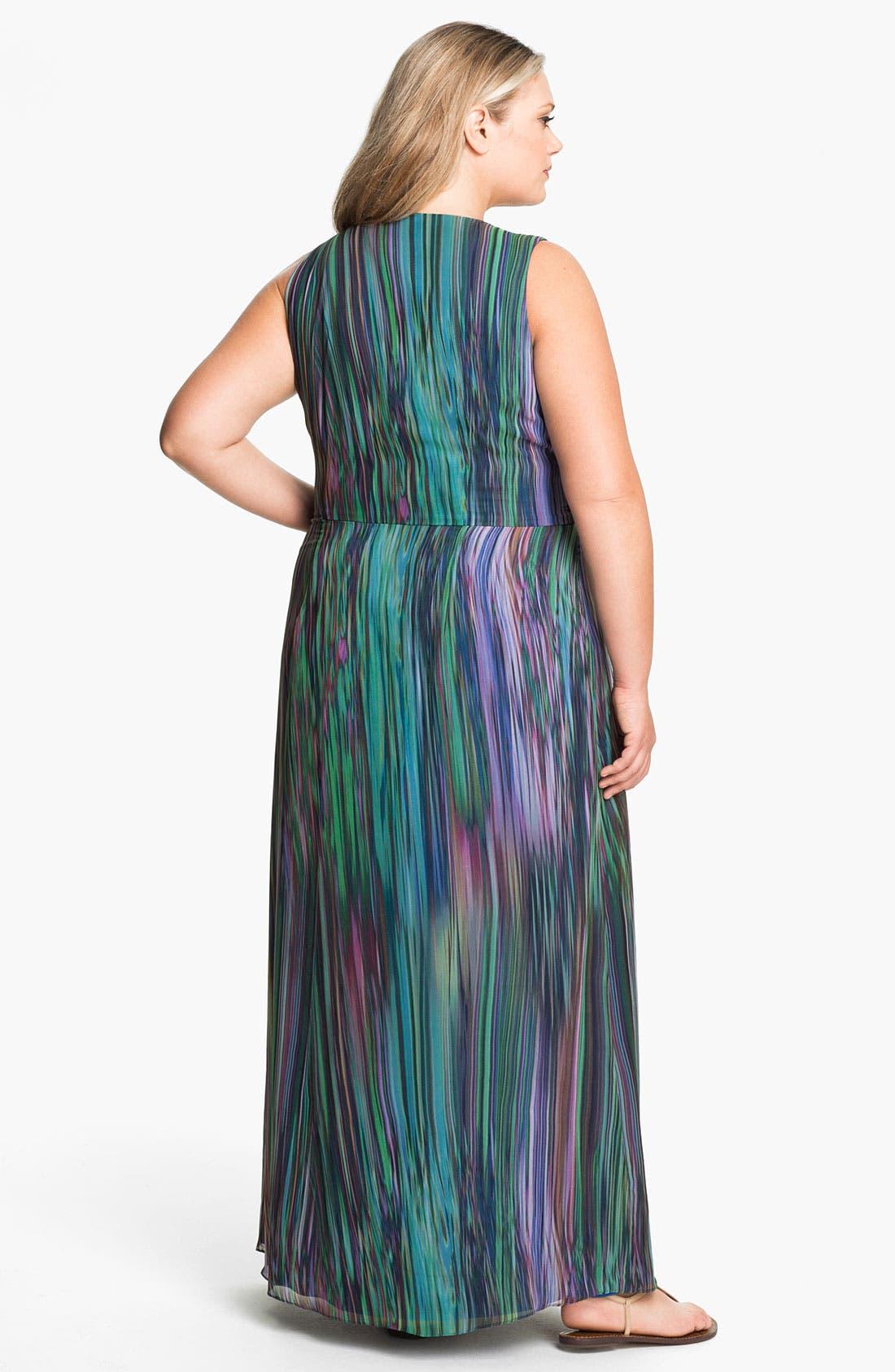 Alternate Image 2  - Donna Ricco Faux Wrap Maxi Dress (Plus Size)