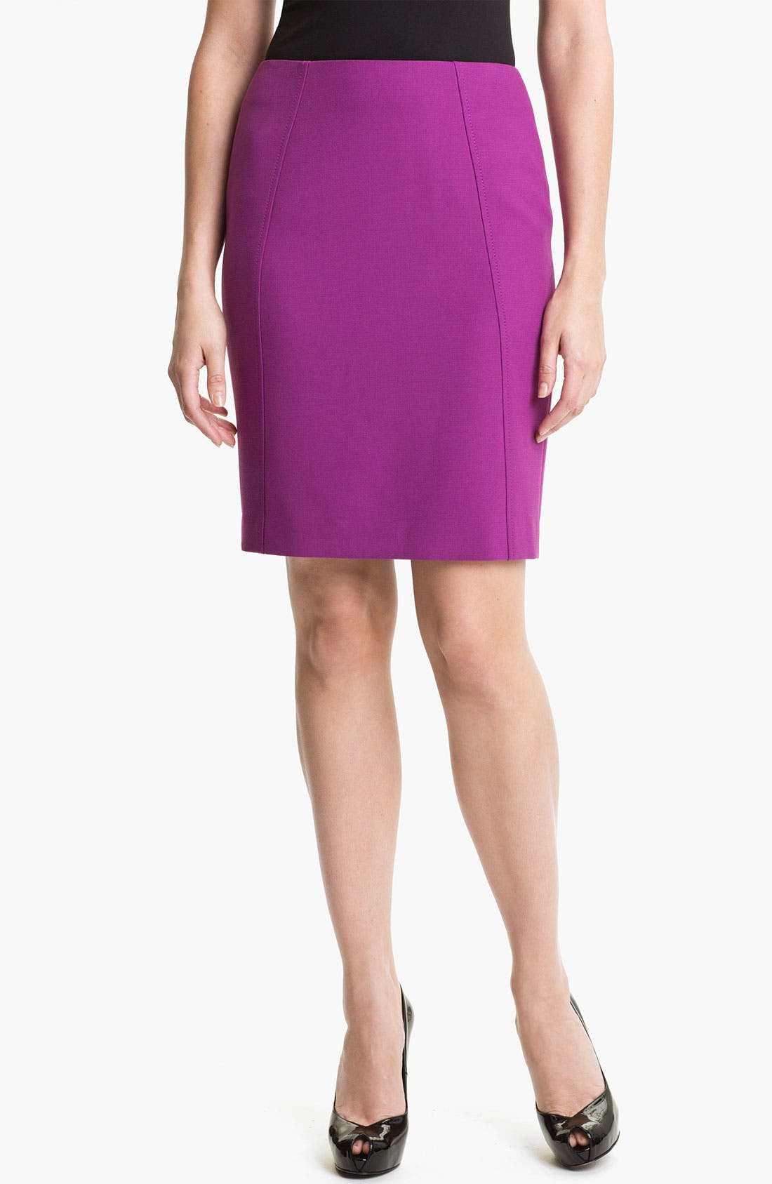 Alternate Image 1 Selected - Halogen® Seamed Pencil Skirt (Petite)