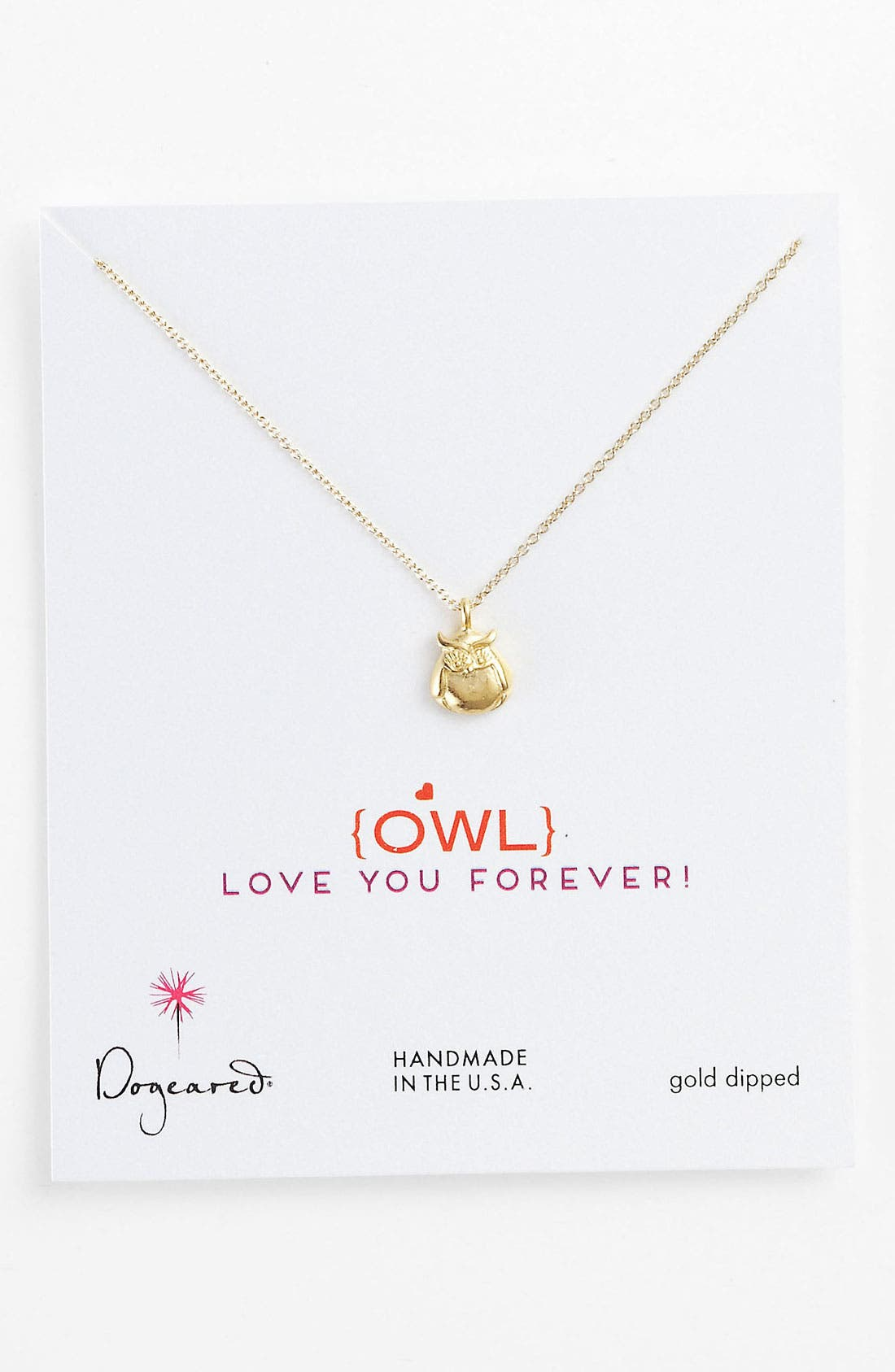 Main Image - Dogeared 'Love - Owl Love You Forever' Pendant Necklace
