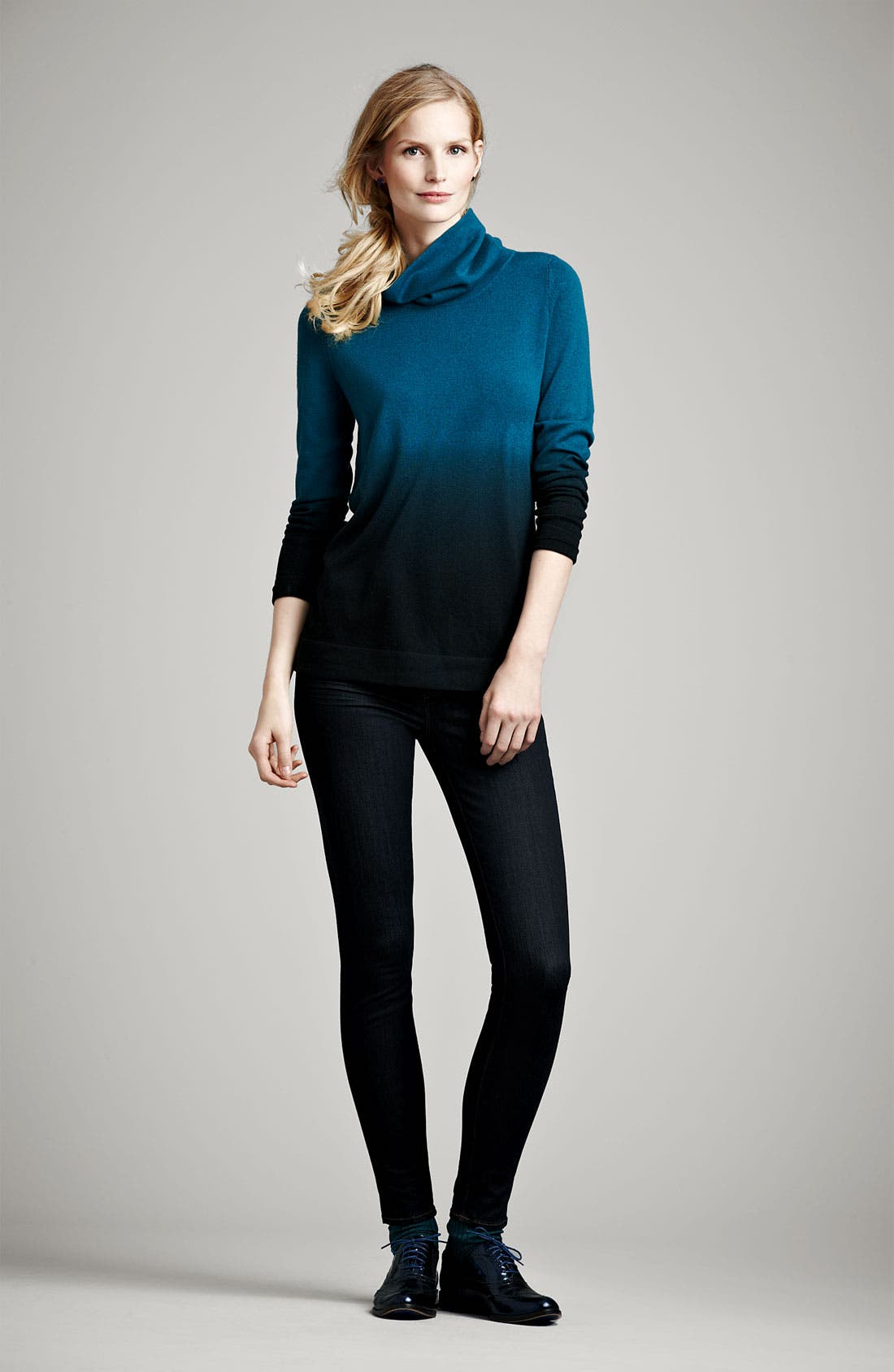 Alternate Image 4  - Nordstrom Collection Ombré Cashmere Turtleneck Sweater