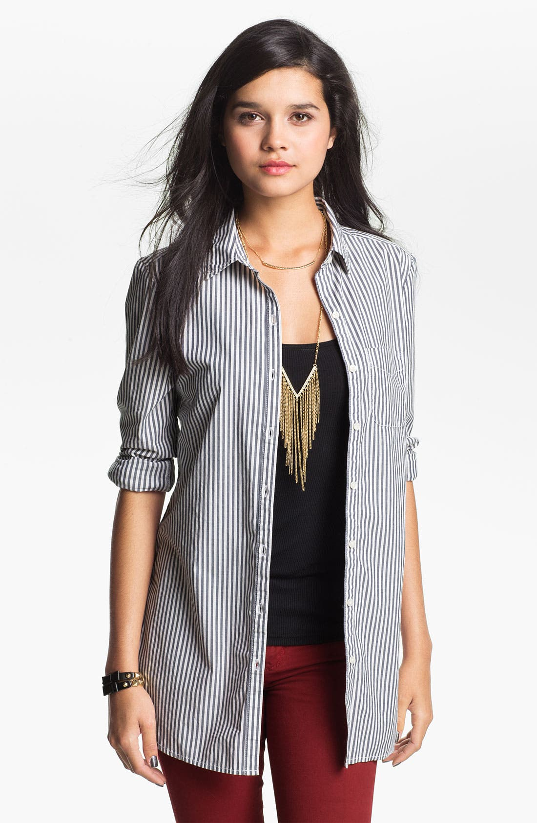 Alternate Image 1 Selected - BP. Woven Button Front Shirt (Juniors)