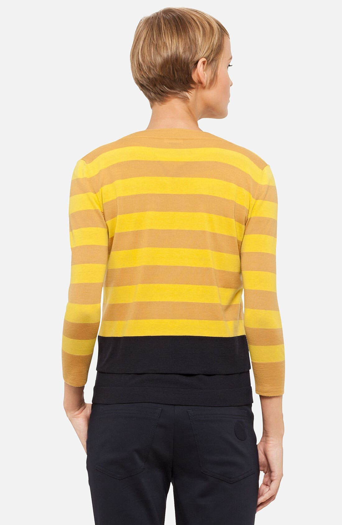Alternate Image 2  - Akris punto Stripe Wool Cardigan
