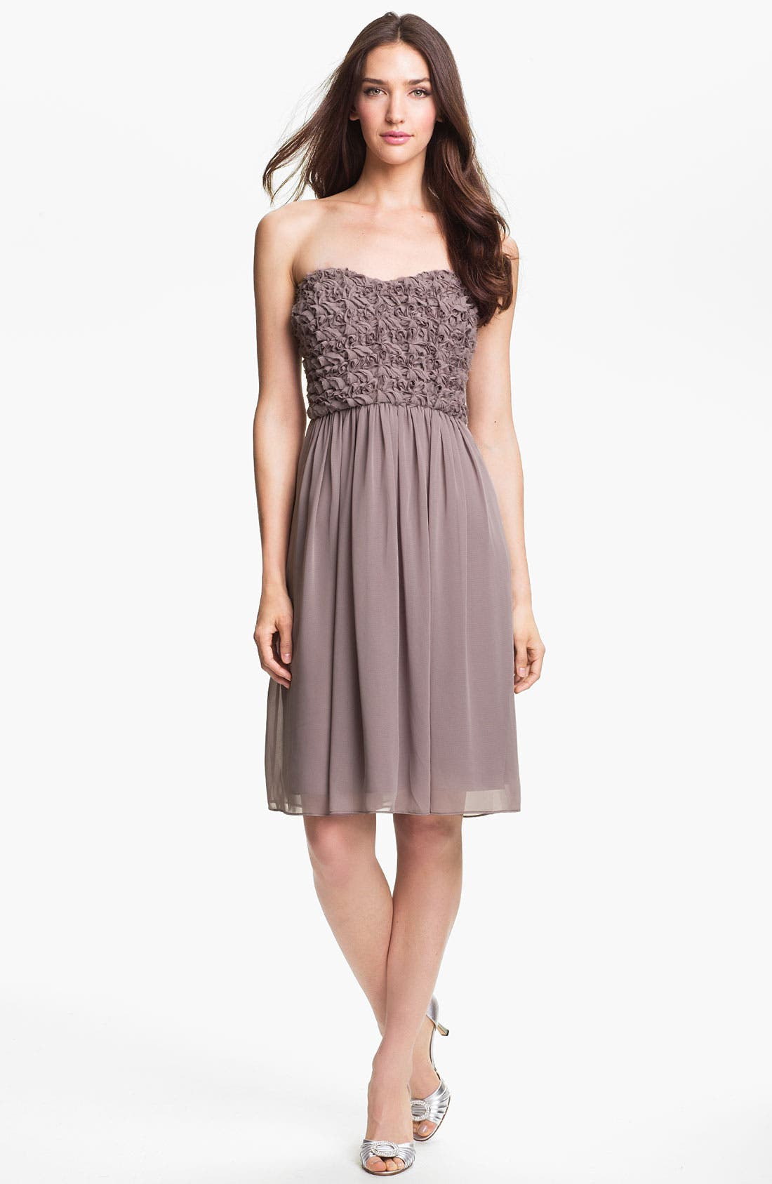 Alternate Image 1 Selected - Calvin Klein Strapless Rosette Bodice Chiffon Dress (Online Only)
