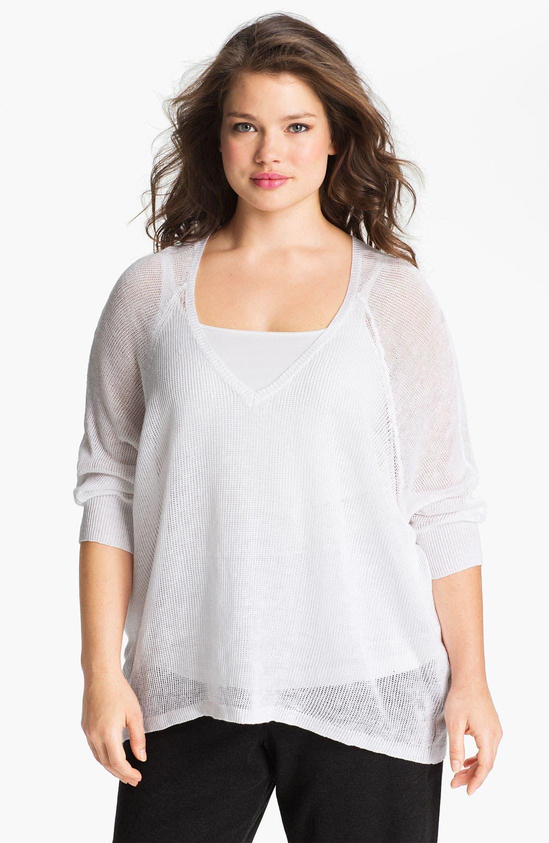Alternate Image 1 Selected - Eileen Fisher Sheer V-Neck Linen Sweater (Plus)
