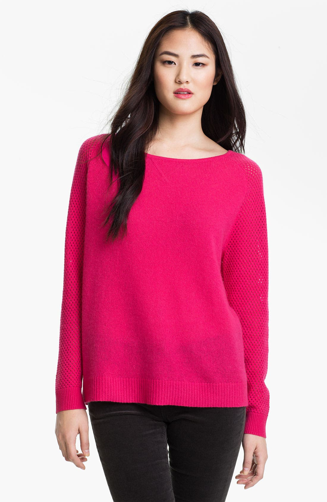 Main Image - Only Mine Open Stitch Sleeve Cashmere Sweater