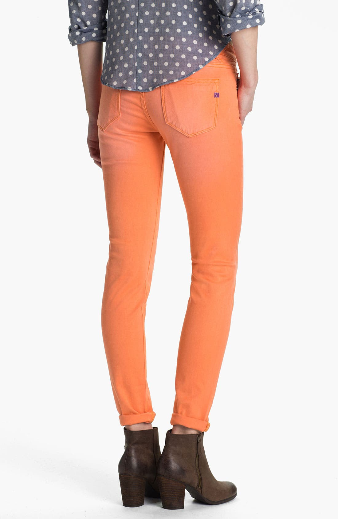 Alternate Image 1 Selected - Vigoss Skinny Jeans (Tangerine) (Juniors)