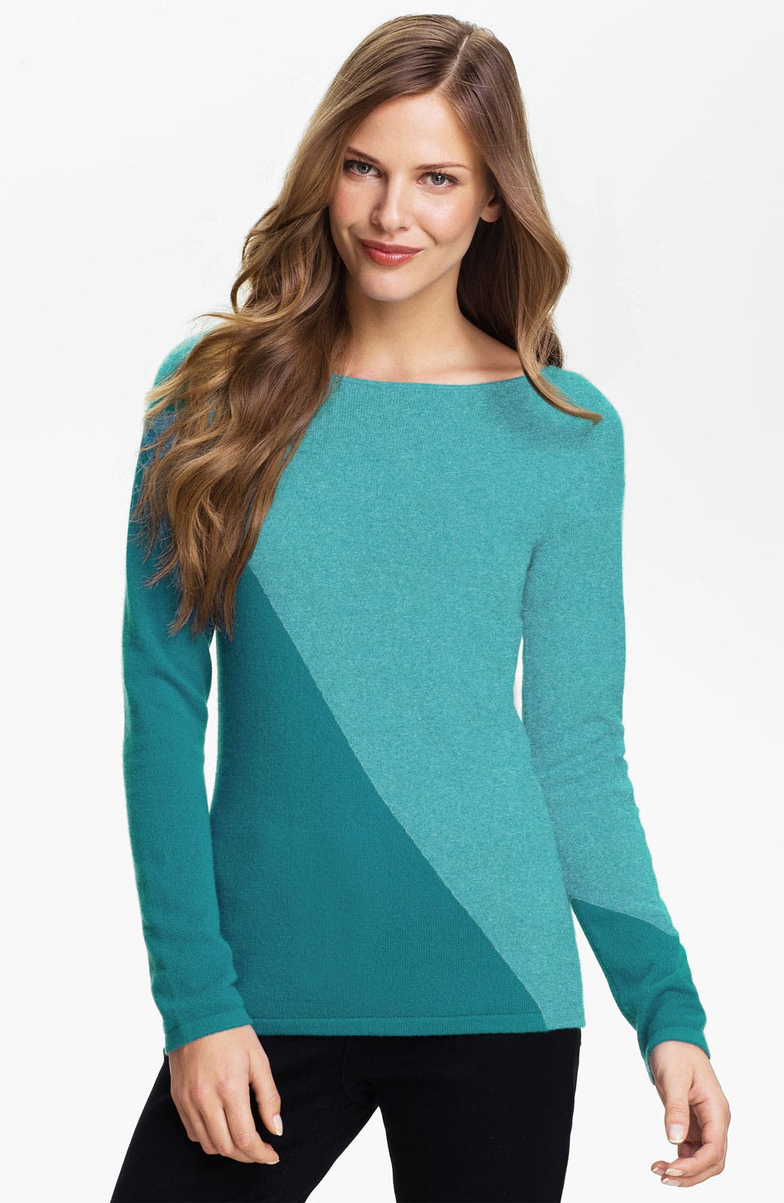 Main Image - Lauren Hansen Colorblock Cashmere Sweater