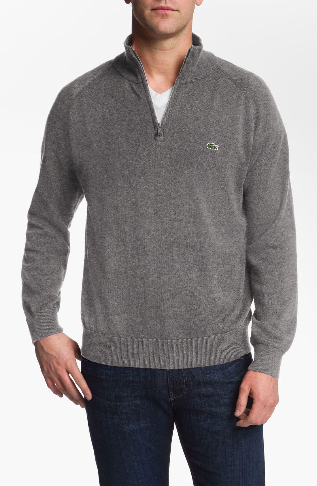 Quarter Zip Regular Fit Sweater,                         Main,                         color, Stone/ Black