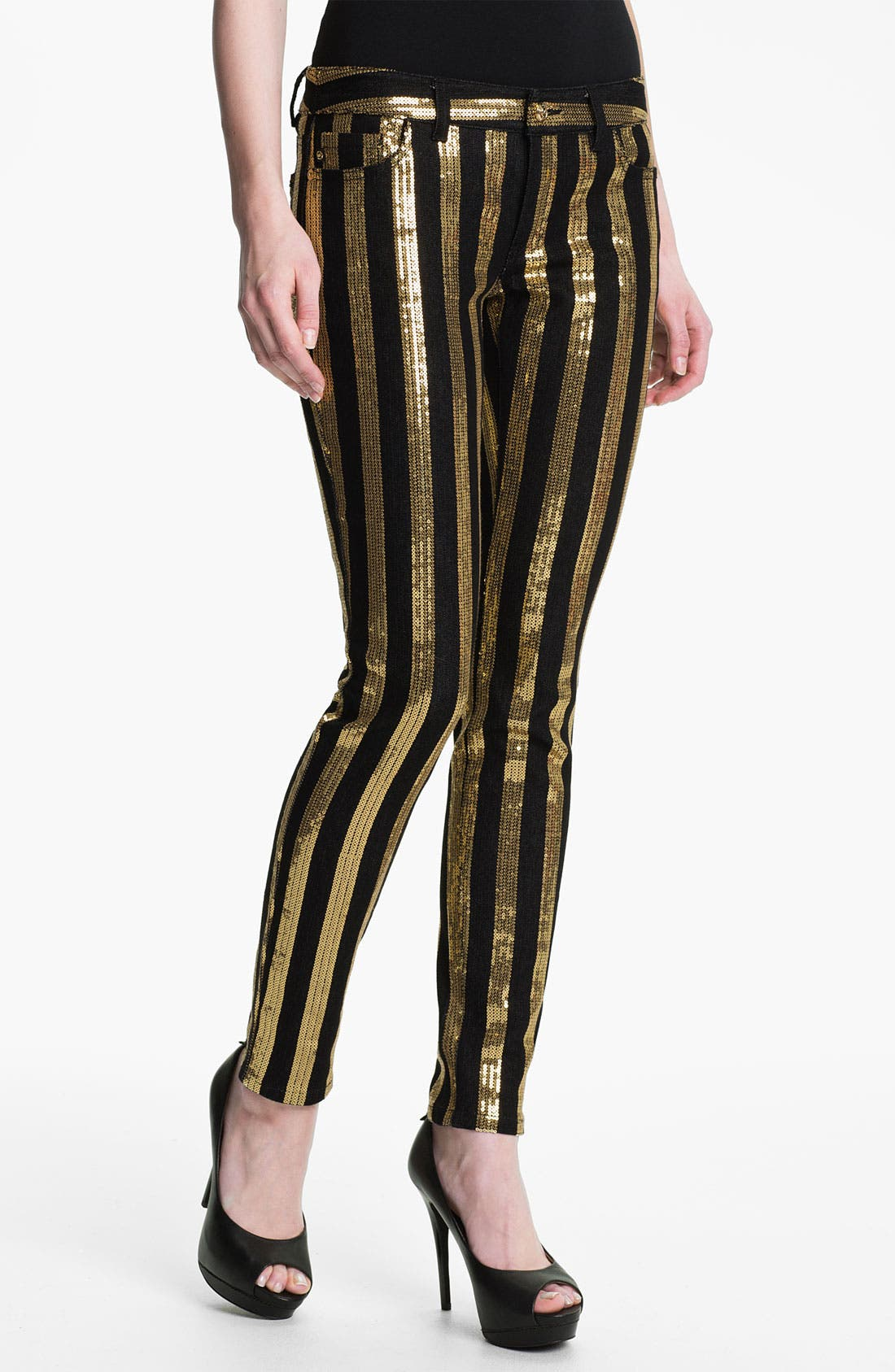 Alternate Image 1 Selected - MICHAEL Michael Kors Sequin Stripe Jeans