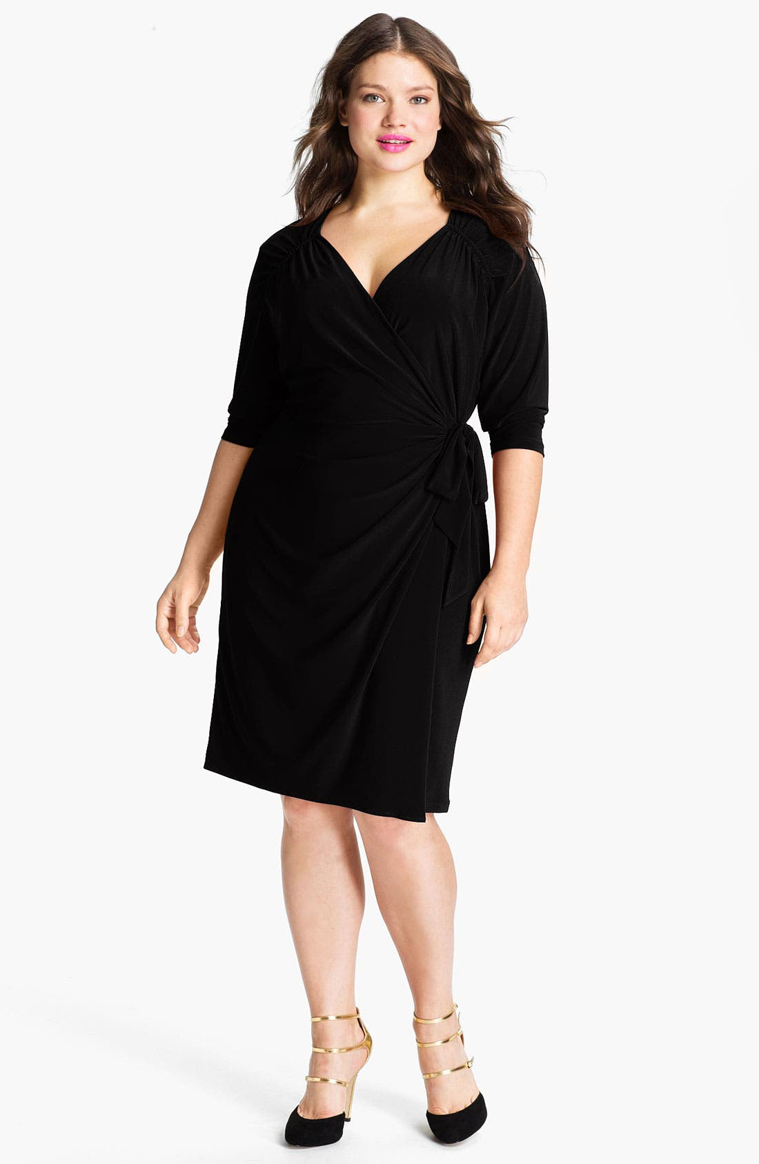 Main Image - Suzi Chin for Maggy Boutique Jersey Faux Wrap Dress (Plus)