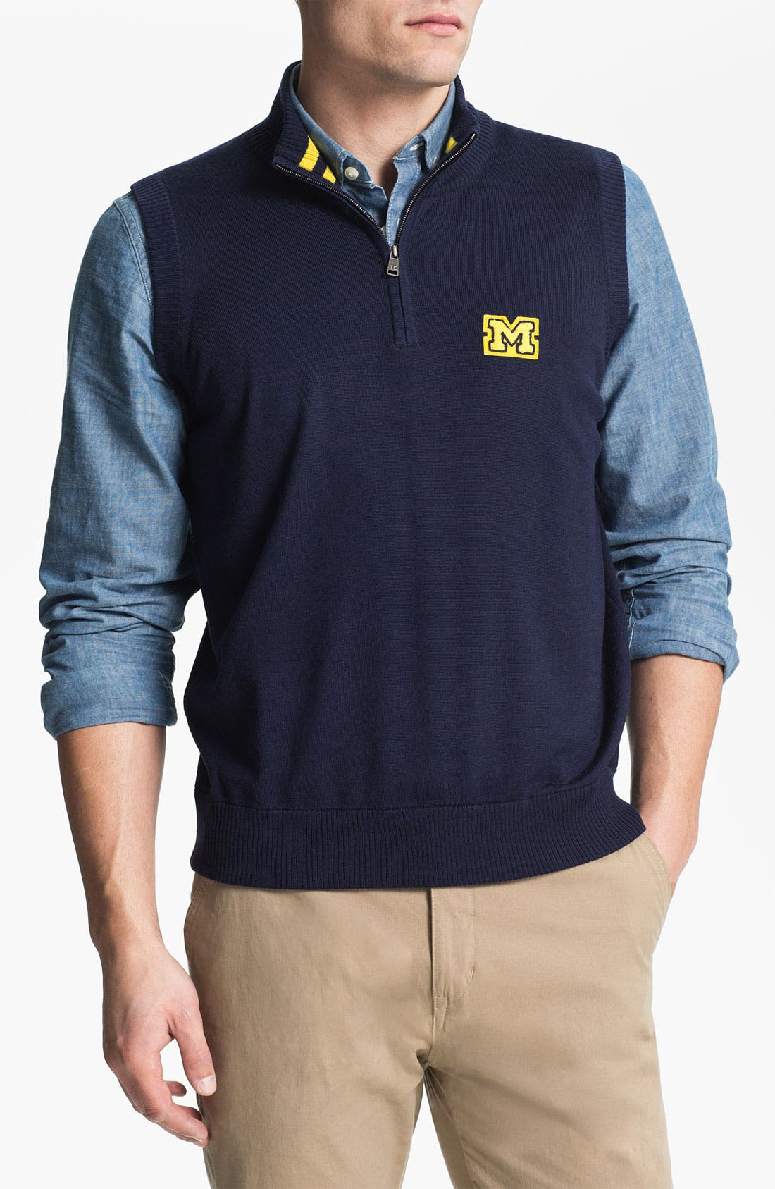Main Image - Thomas Dean 'Michigan' Quarter Zip Sweater Vest