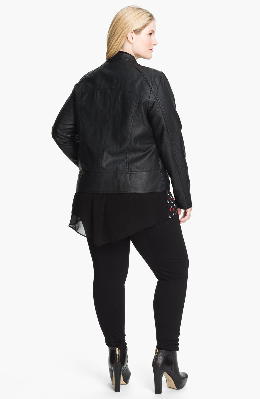 Alternate Image 5  - Evans Quilted Faux Leather Jacket (Plus Size)