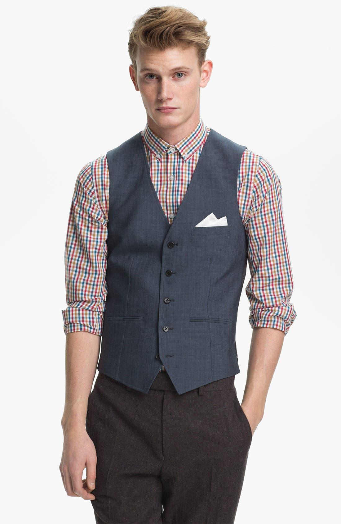 Main Image - Topman Skinny Wool Blend Waistcoat