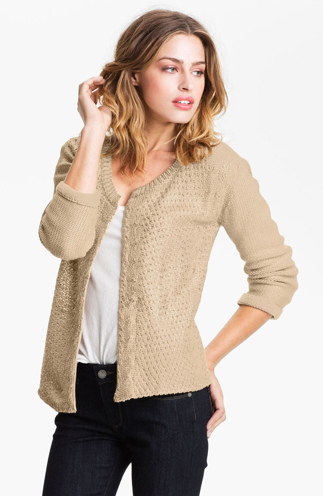 Main Image - Gibson Metallic Cable Cardigan