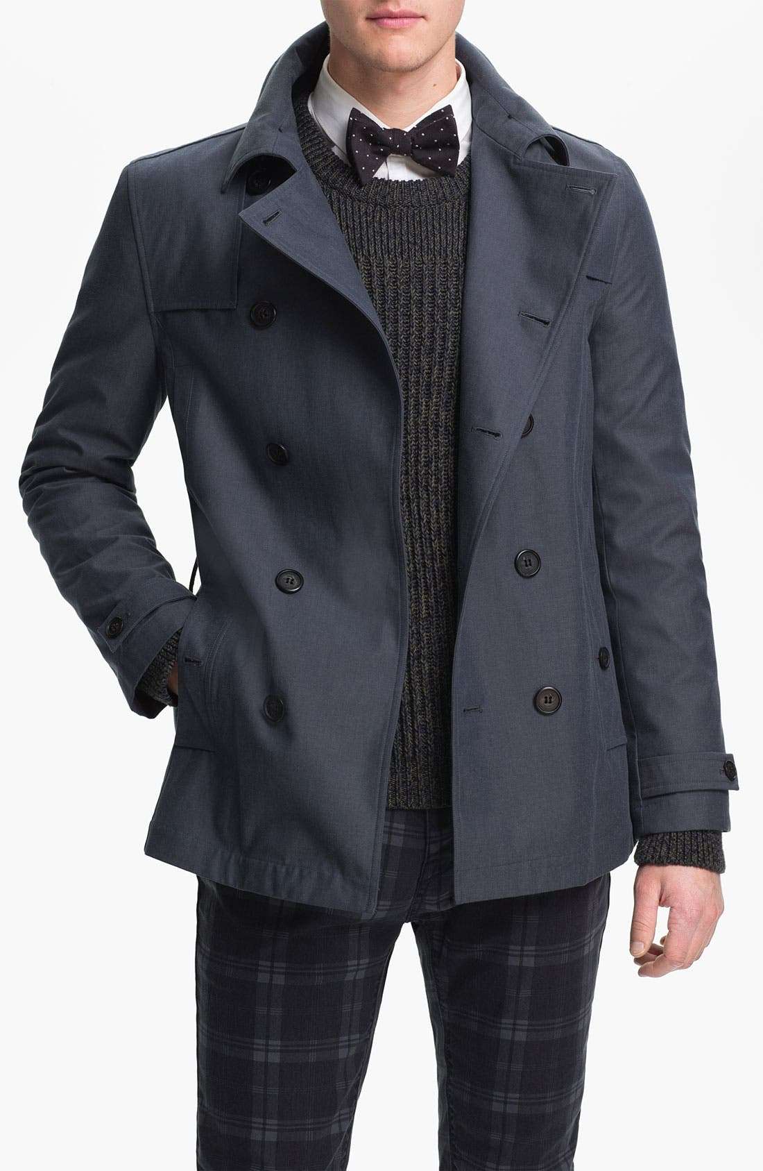 Alternate Image 1 Selected - Topman Double Breasted Mac Jacket