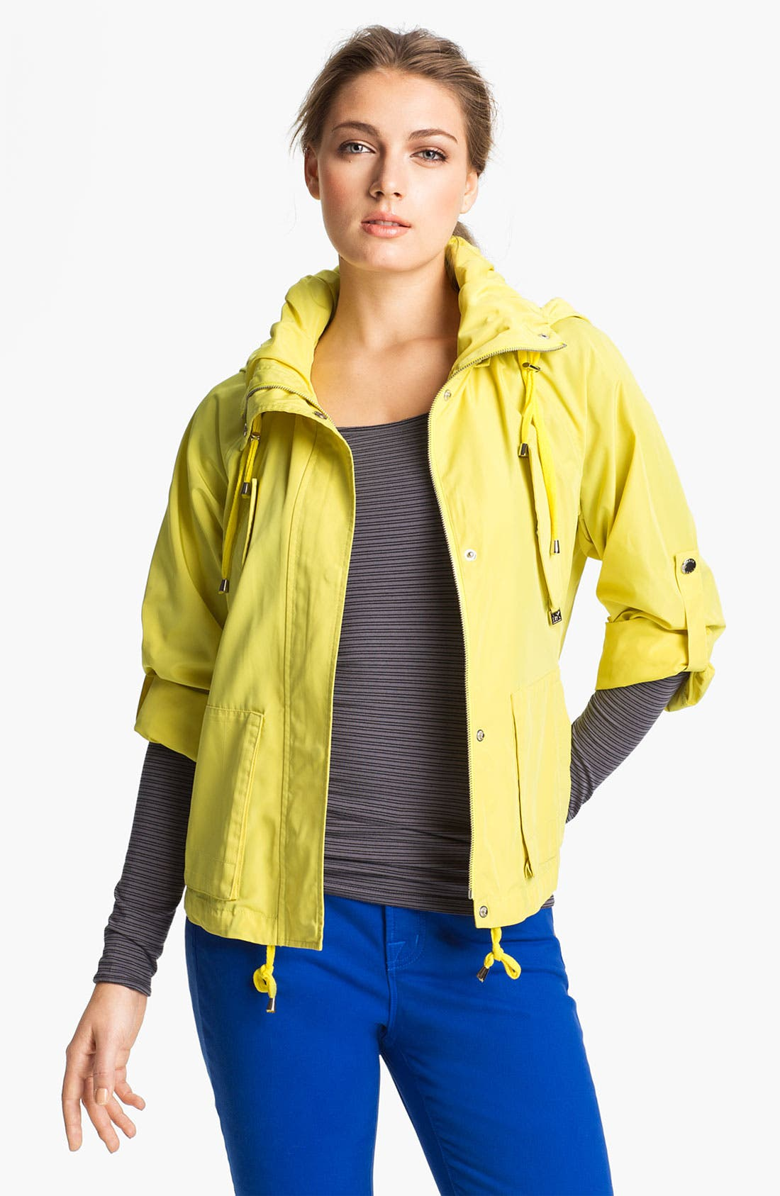 Alternate Image 1 Selected - MICHAEL Michael Kors Hooded Roll Sleeve Jacket (Regular & Petite)