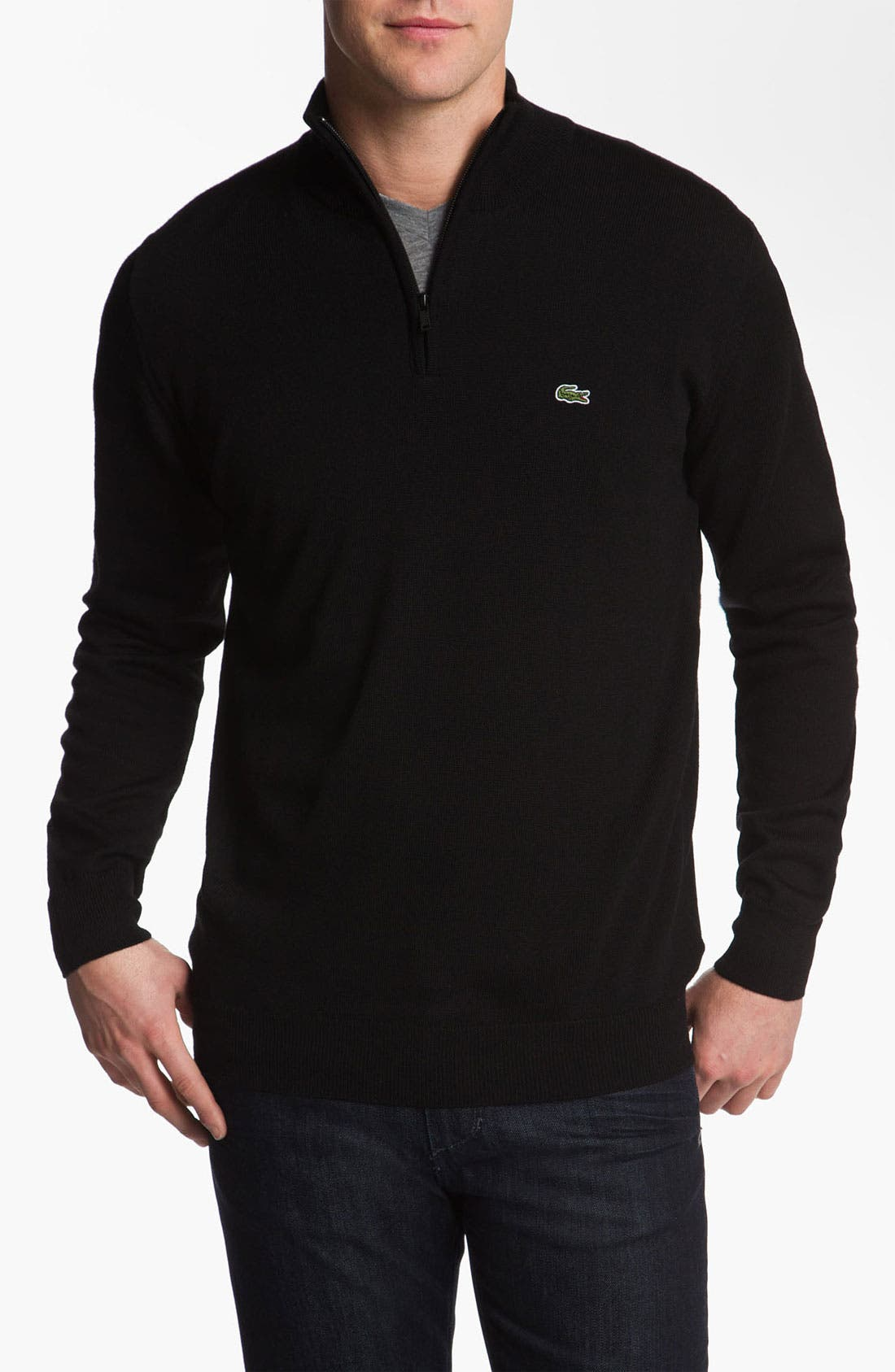 Main Image - Lacoste Lambswool Mock Neck Sweater