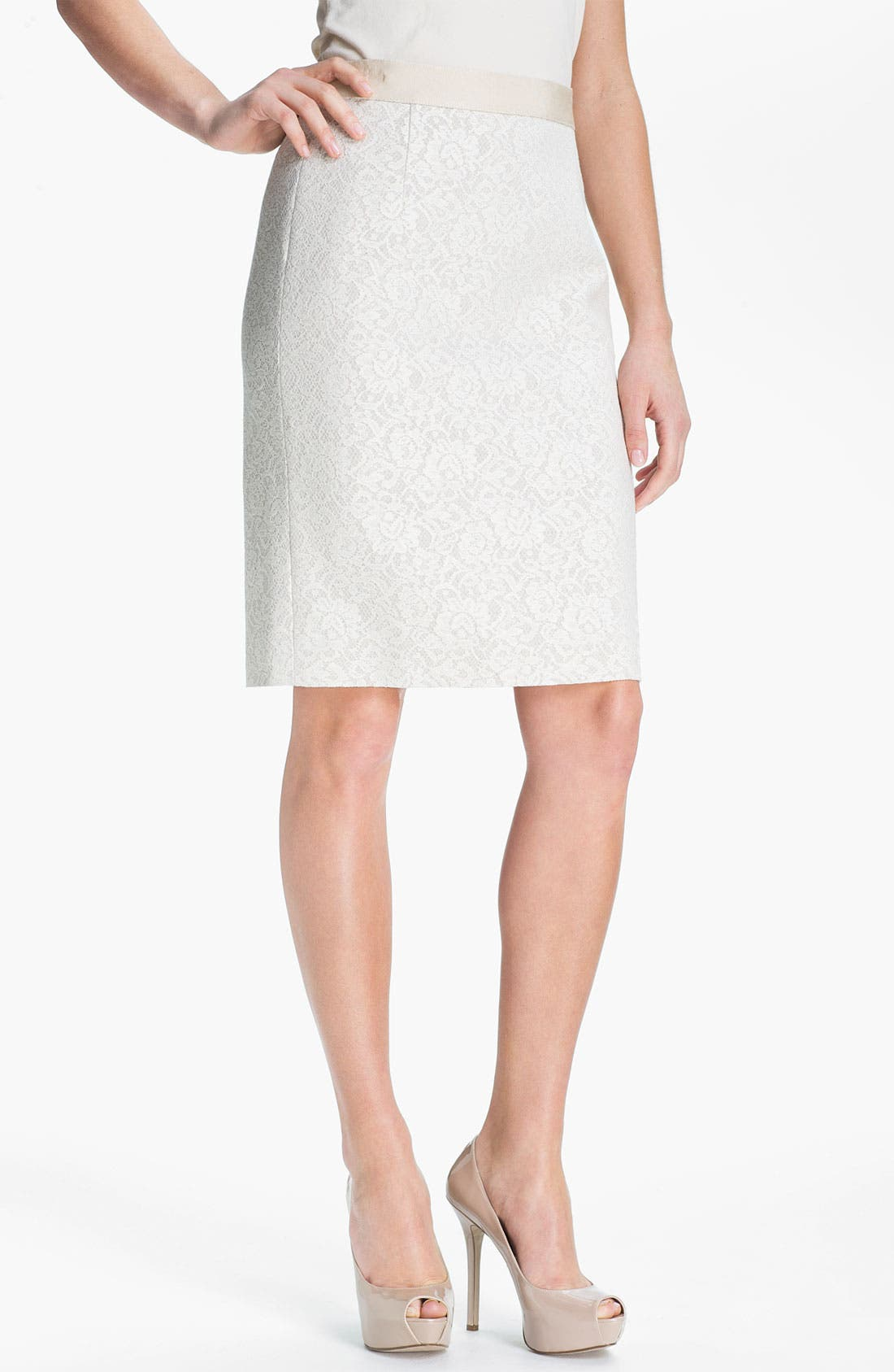 Alternate Image 1 Selected - Classiques Entier® Bonded Lace Pencil Skirt