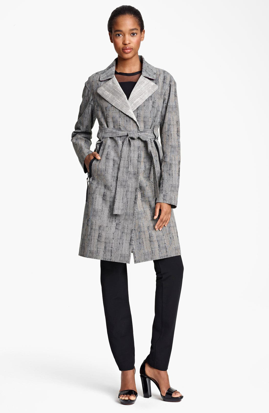 Main Image - Lida Baday Stripe Jacquard Trench Coat