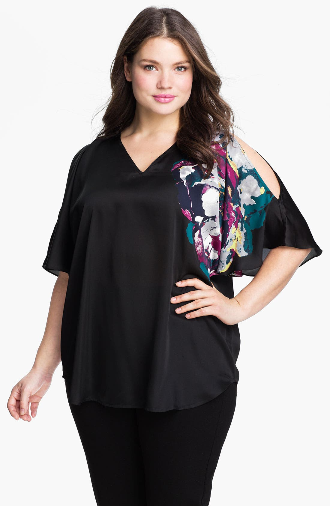Main Image - Kenneth Cole New York Placed Peony Cold Shoulder Top (Plus)