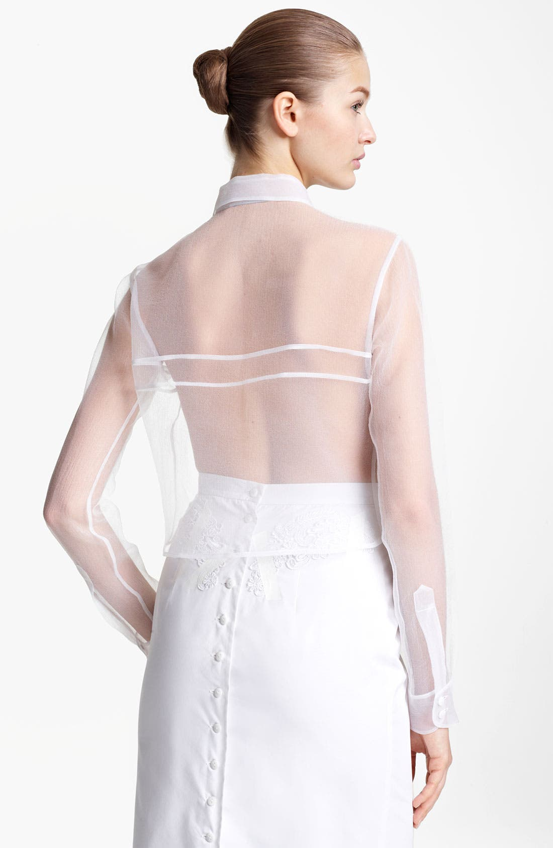 Bow Detail Sheer Organza Blouse,                             Alternate thumbnail 2, color,                             White