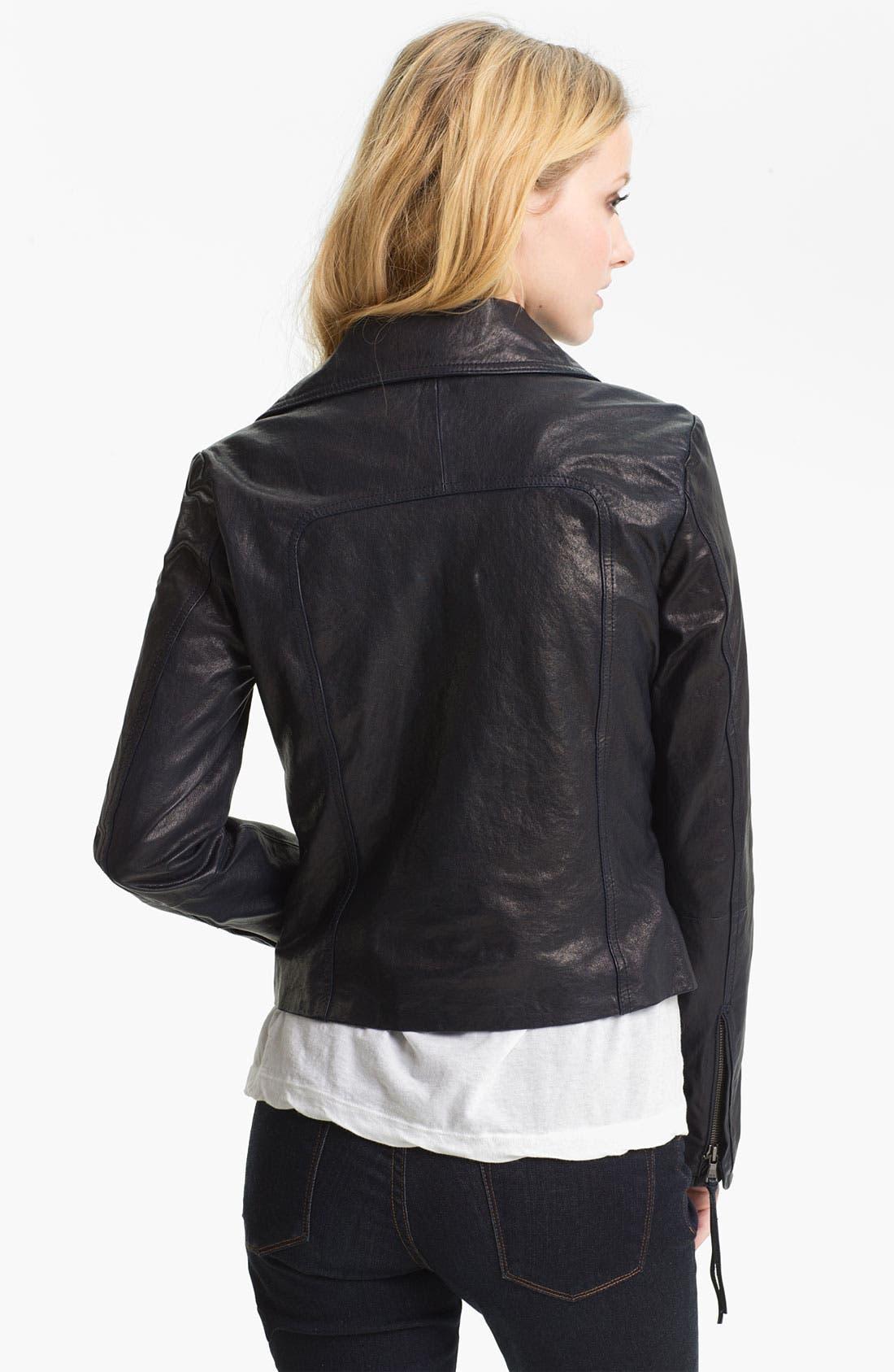 Alternate Image 2  - June Leather Biker Jacket