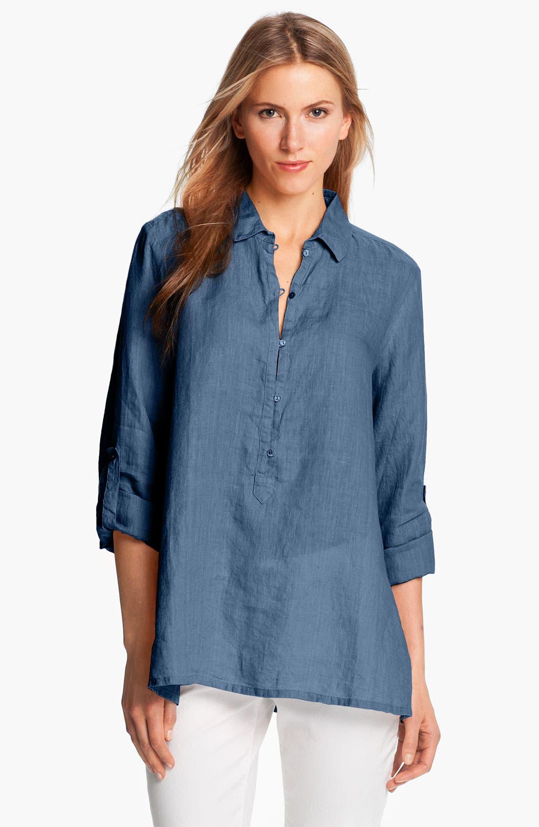 Alternate Image 1 Selected - Eileen Fisher Laundered Handkerchief Linen Shirt