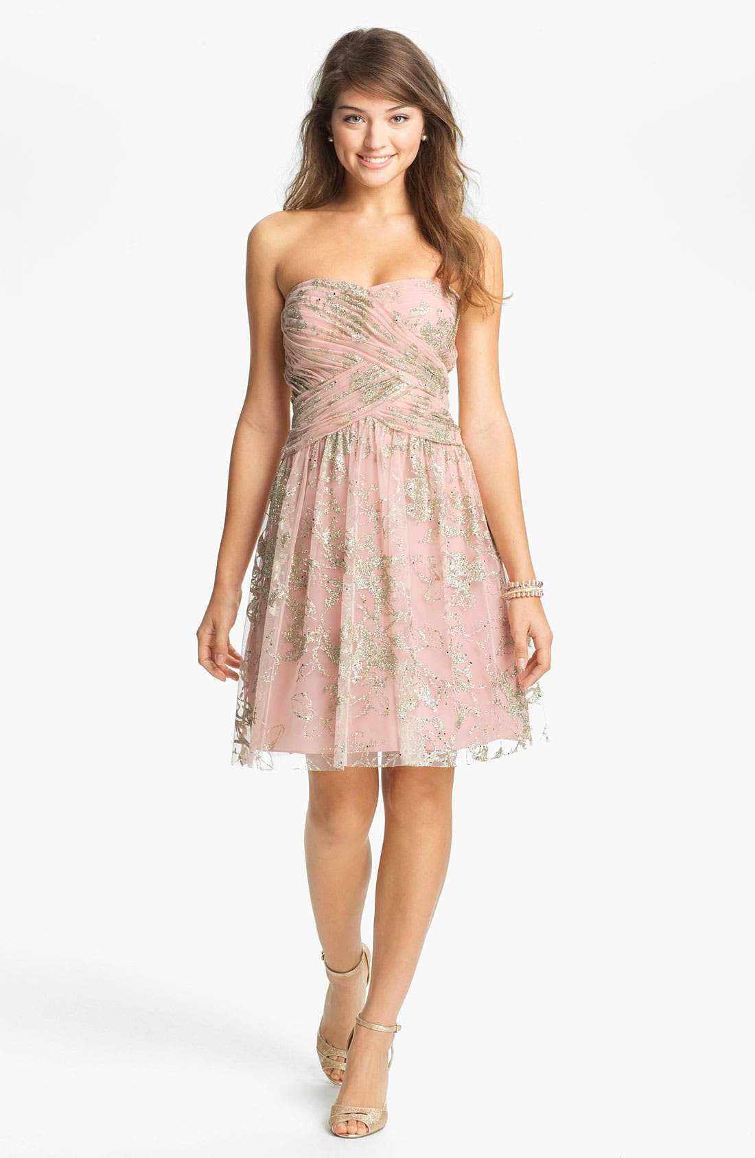 Main Image - Hailey by Adrianna Papell Glitter Tulle Fit & Flare Dress (Online Only)