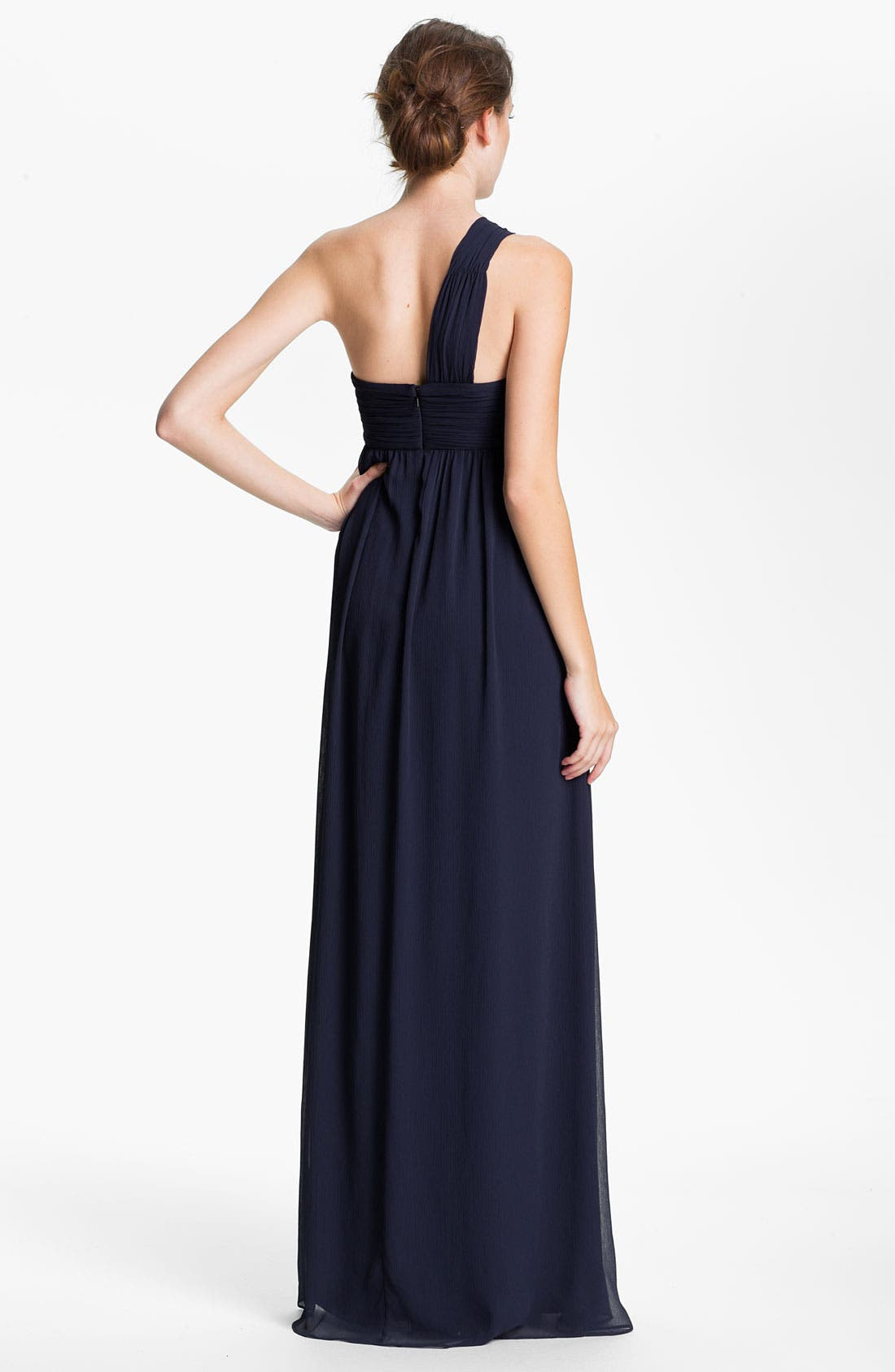 Alternate Image 2  - Max & Cleo One Shoulder Chiffon Gown