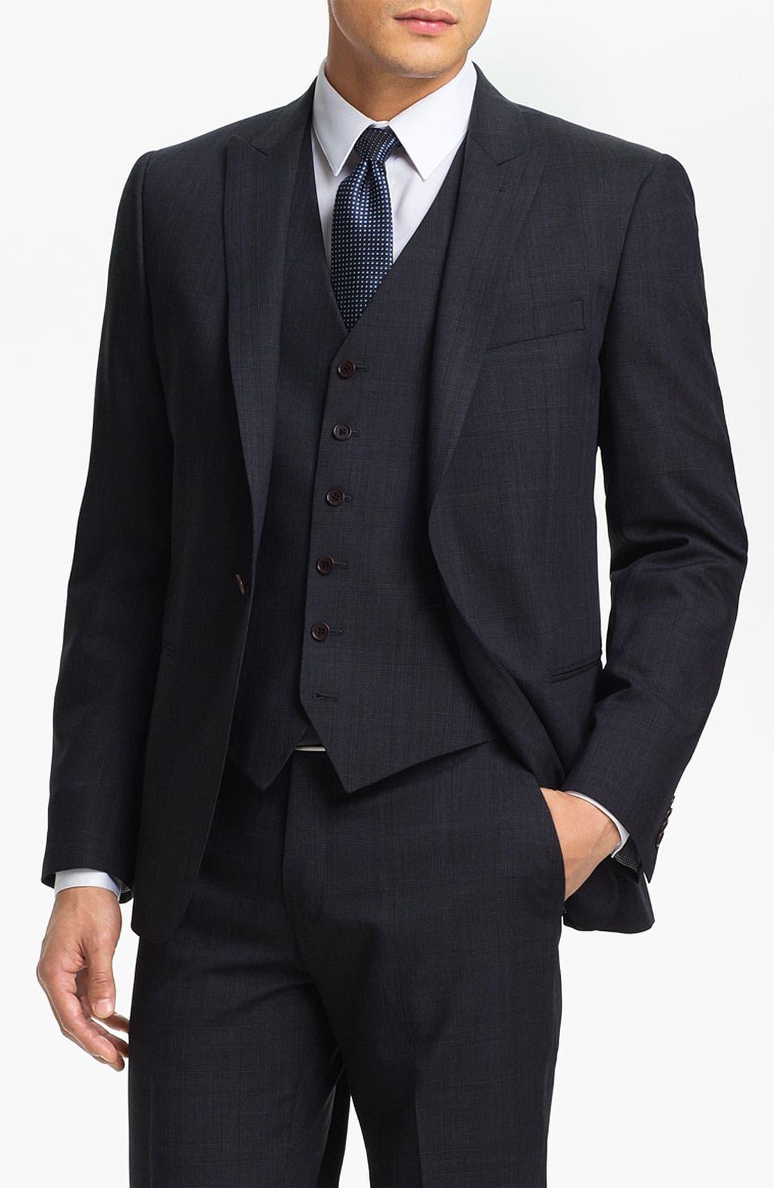 Alternate Image 1 Selected - John Varvatos Star USA 'Irving' Trim Fit Three Piece Suit
