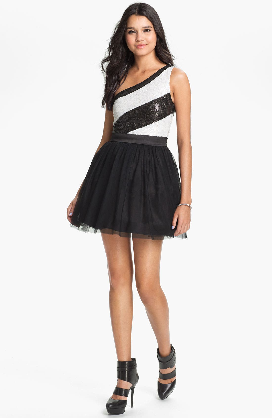 Main Image - As U Wish Embellished One Shoulder Dress (Juniors) (Online Only)
