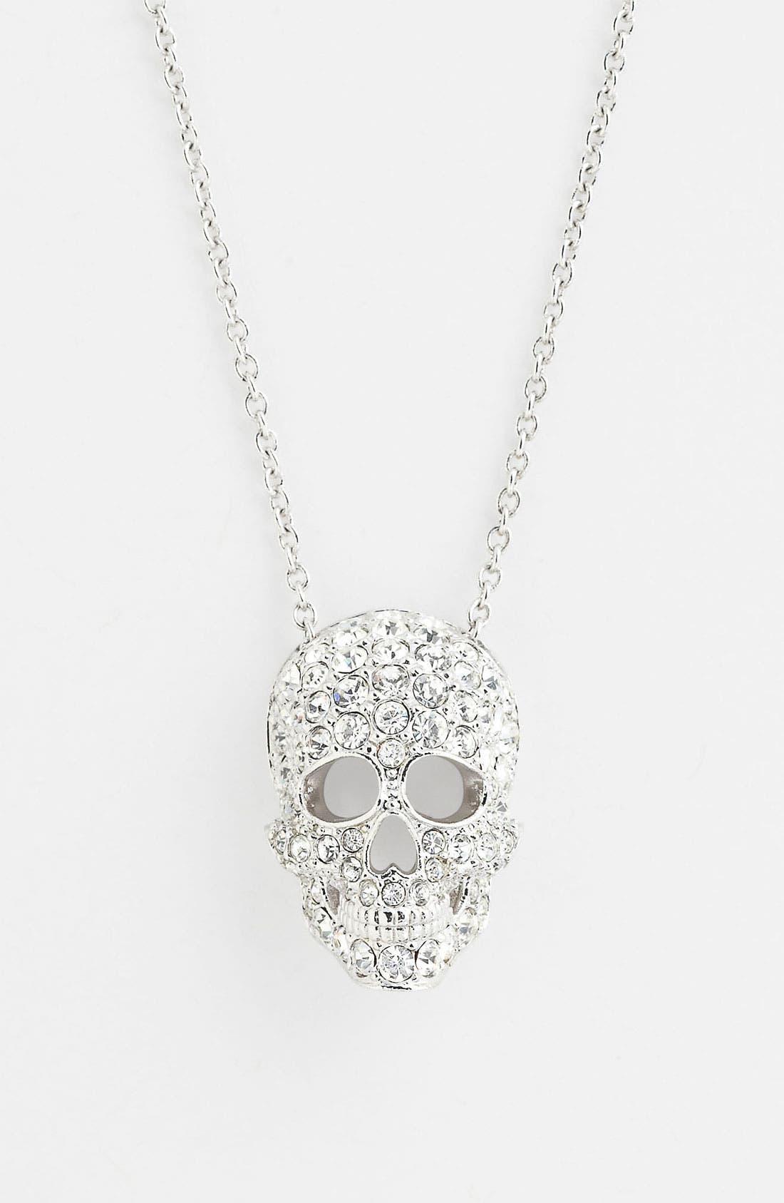 'Skull' Pendant Necklace,                         Main,                         color, Silver/ Clear Crystal