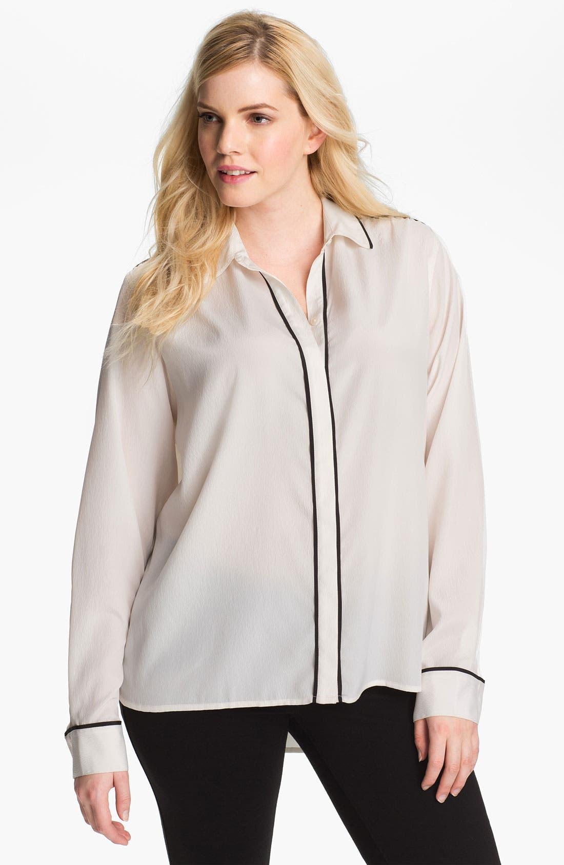 Long Sleeve Shirt,                         Main,                         color, Black/ Ivory