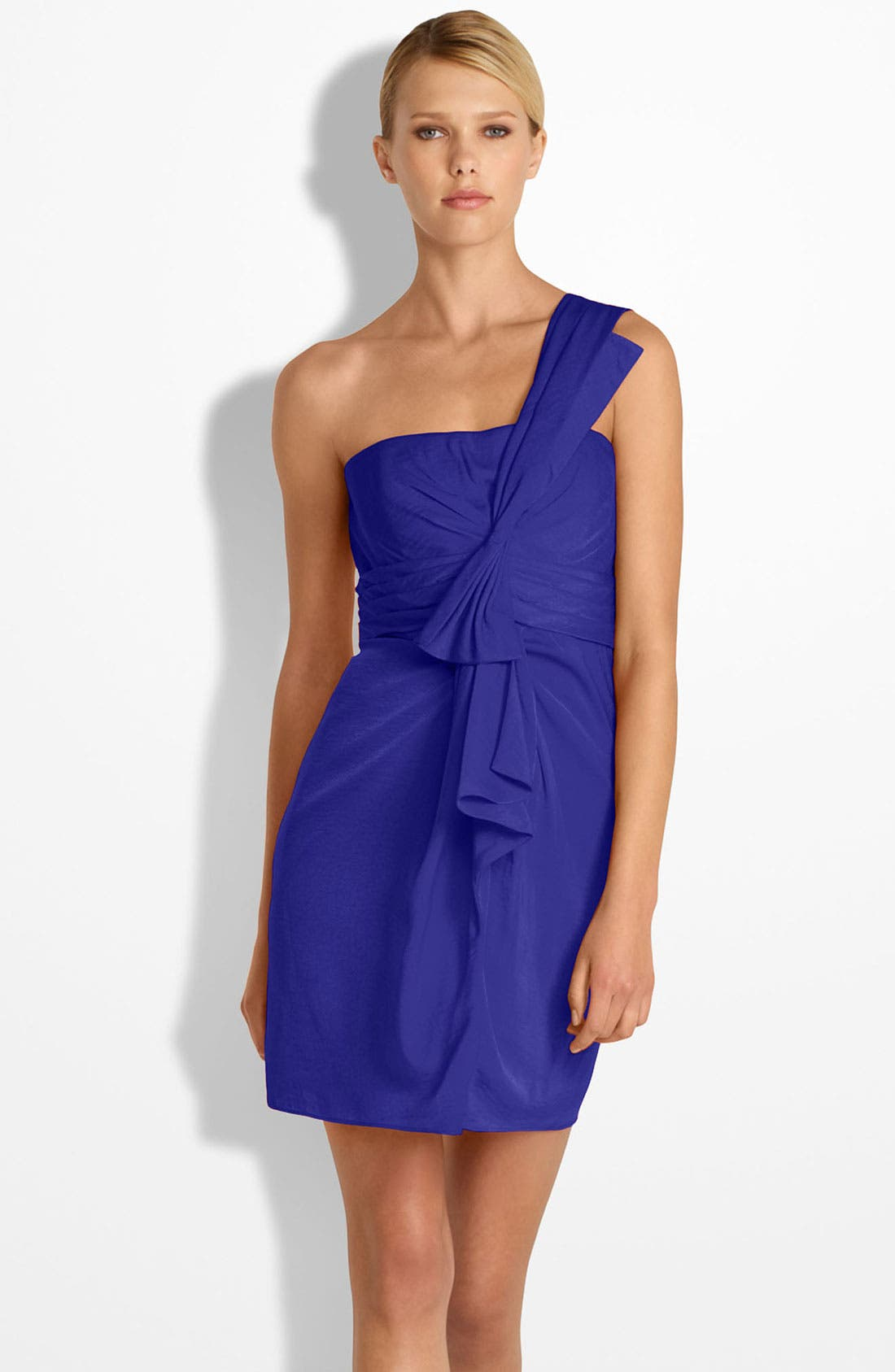 Main Image - BCBGMAXAZRIA Drape Front One-Shoulder Satin Dress