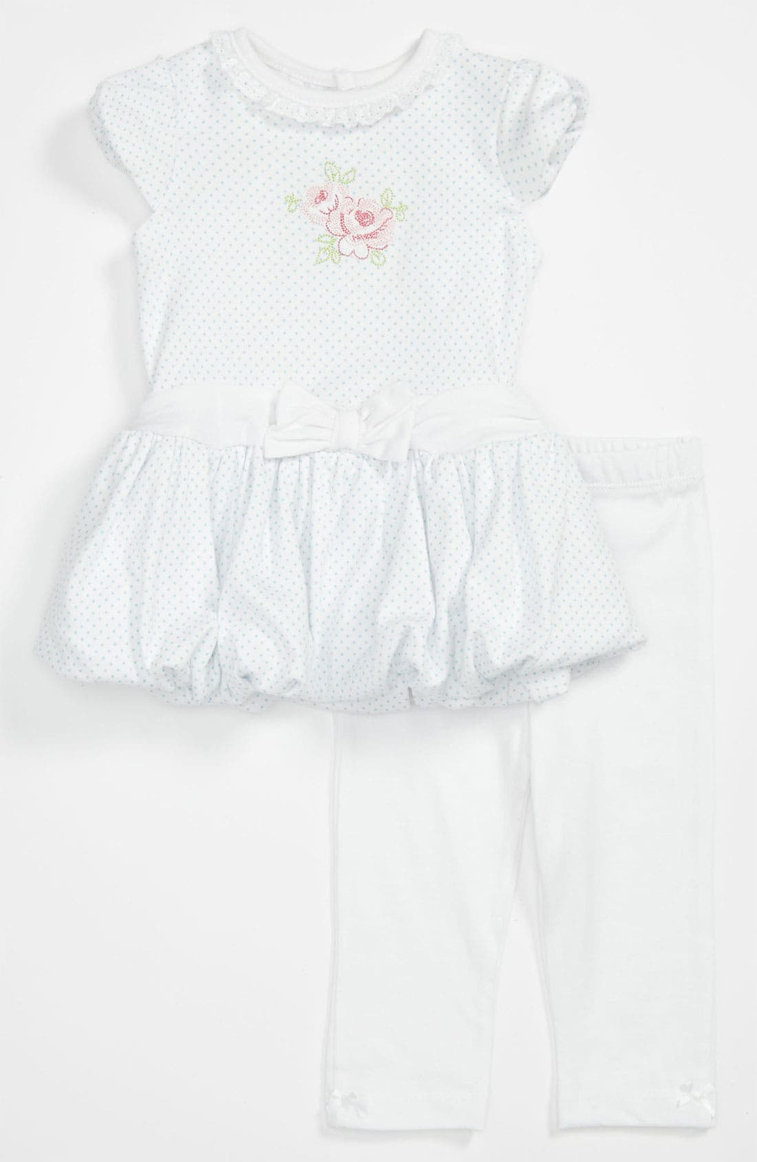 Alternate Image 1 Selected - Little Me 'Rose Bloom' Dress & Leggings (Infant)