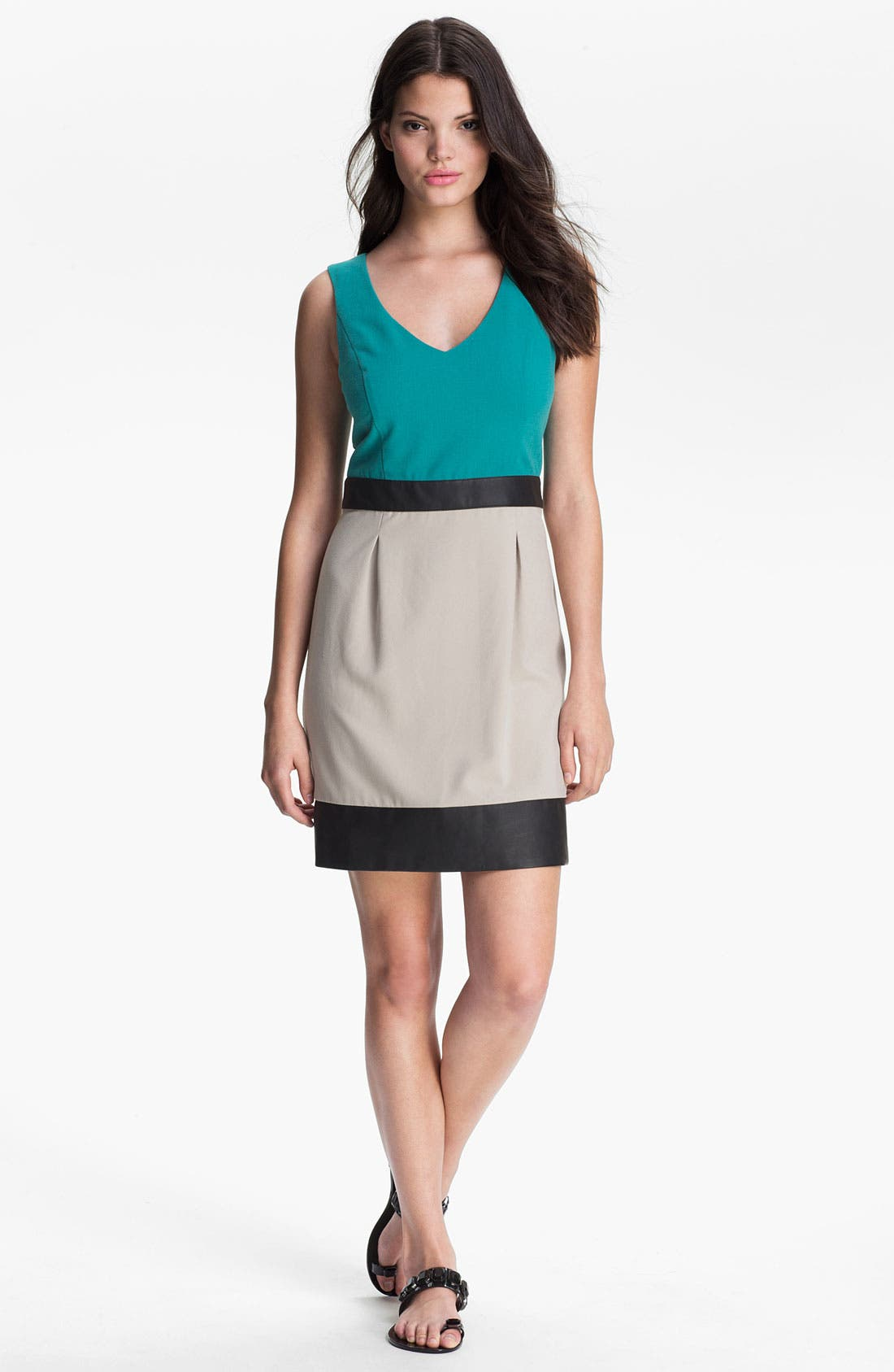 Main Image - Kensie Faux Leather Trim Colorblock Dress