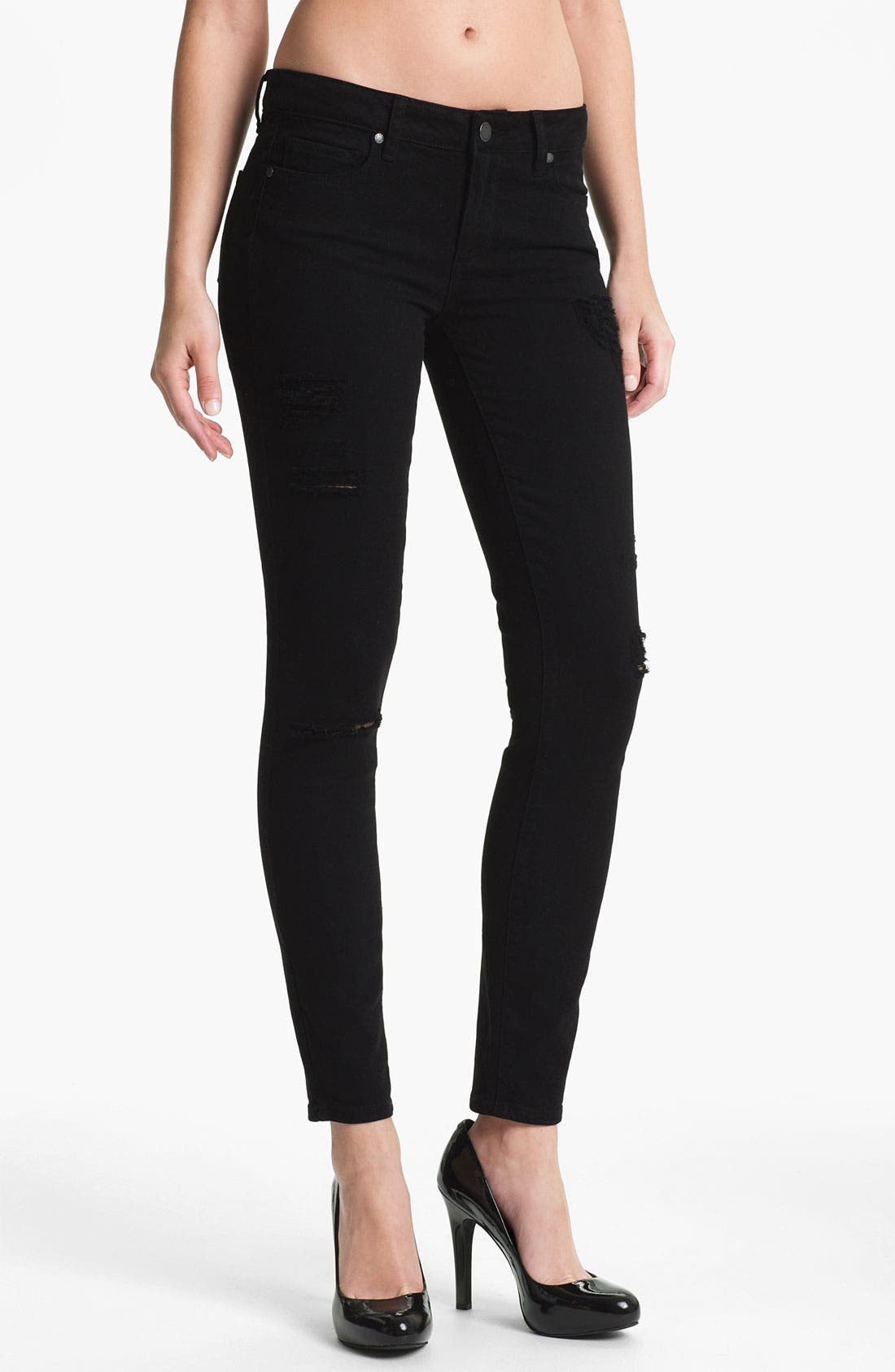 Main Image - Paige Denim 'Verdugo' Stretch Skinny Jeans (Black)