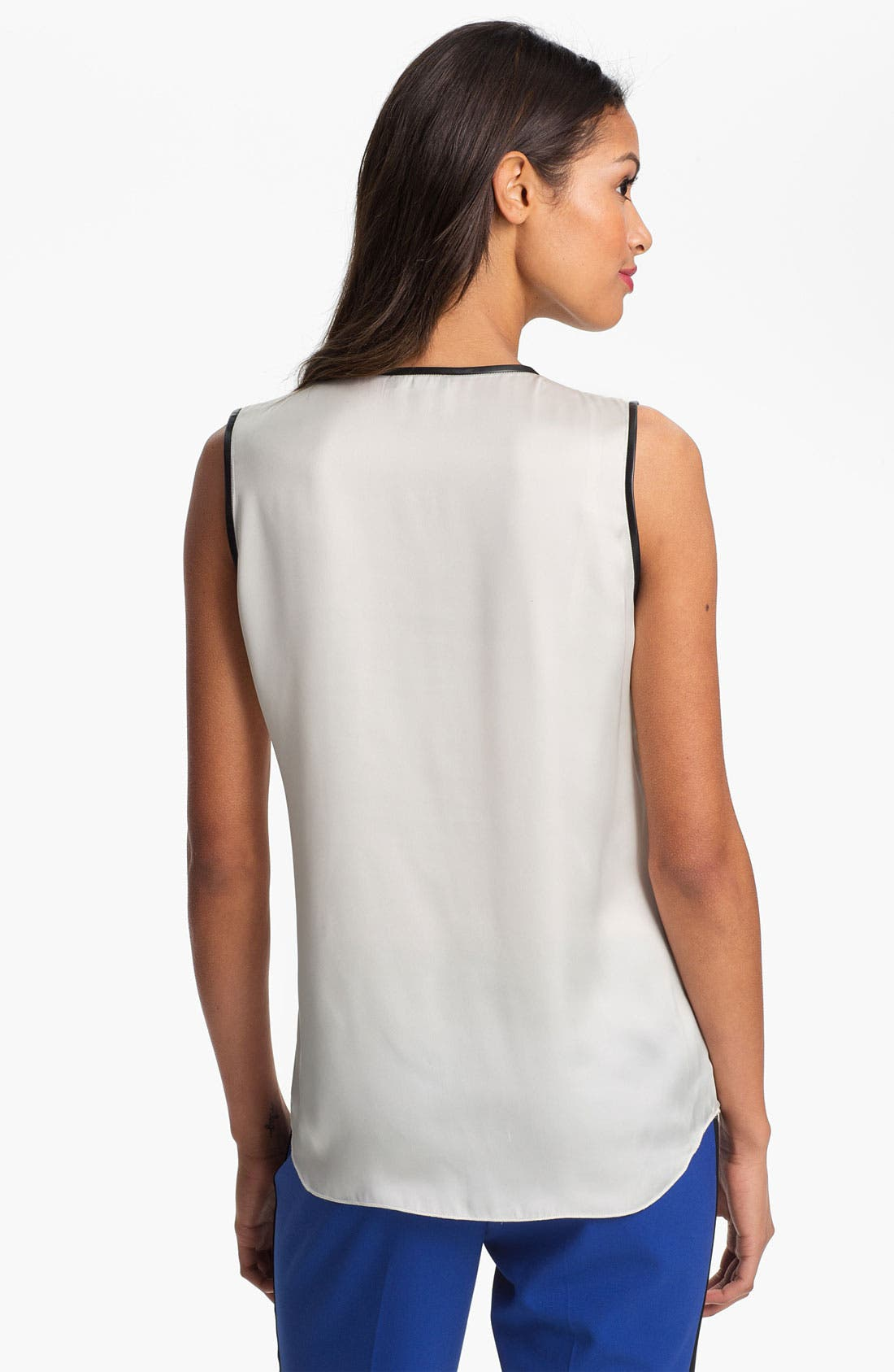 Alternate Image 2  - Vince Camuto Faux Leather Trim Henley Blouse