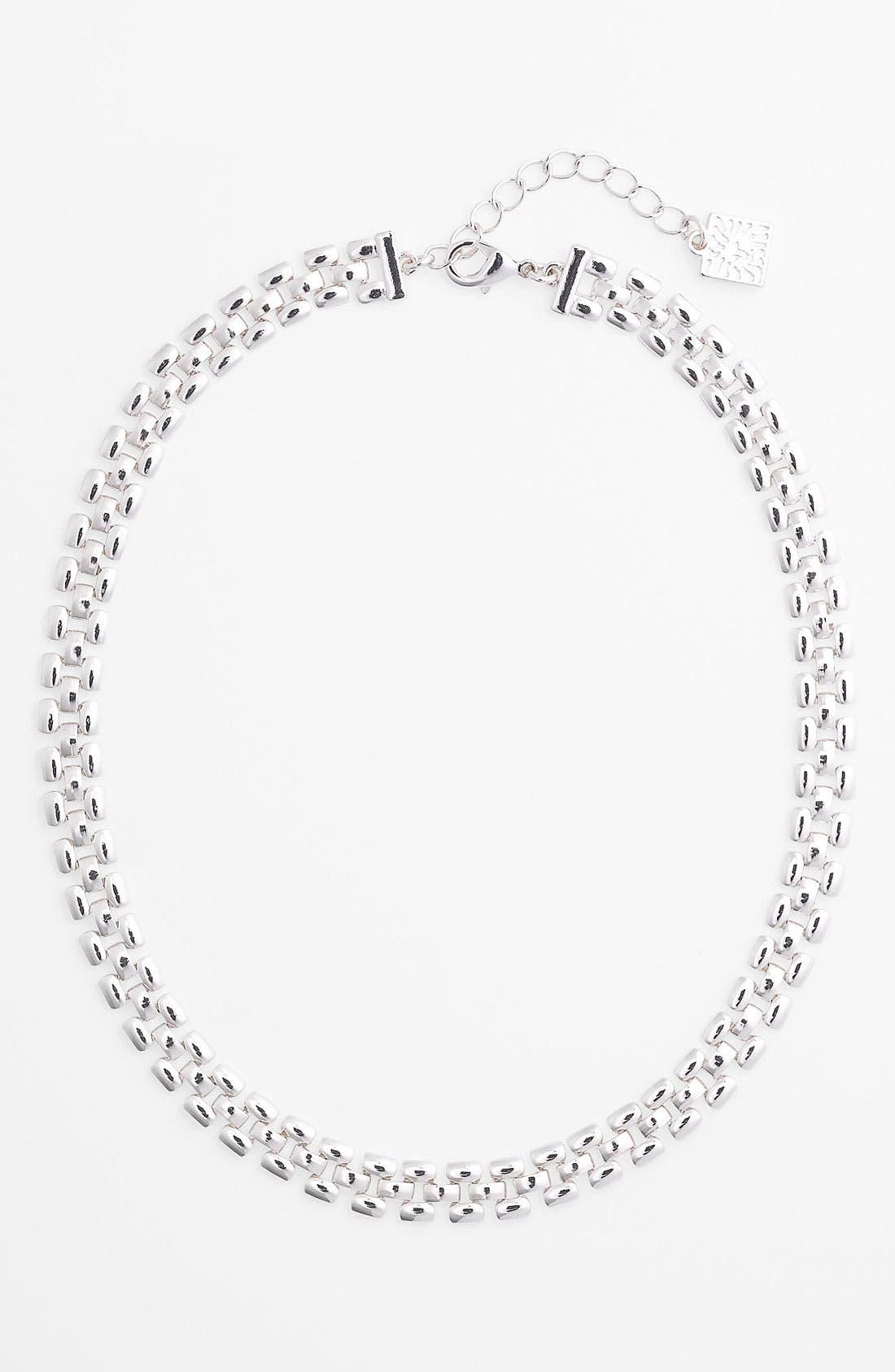 Main Image - Anne Klein Thin Lattice Link Collar Necklace