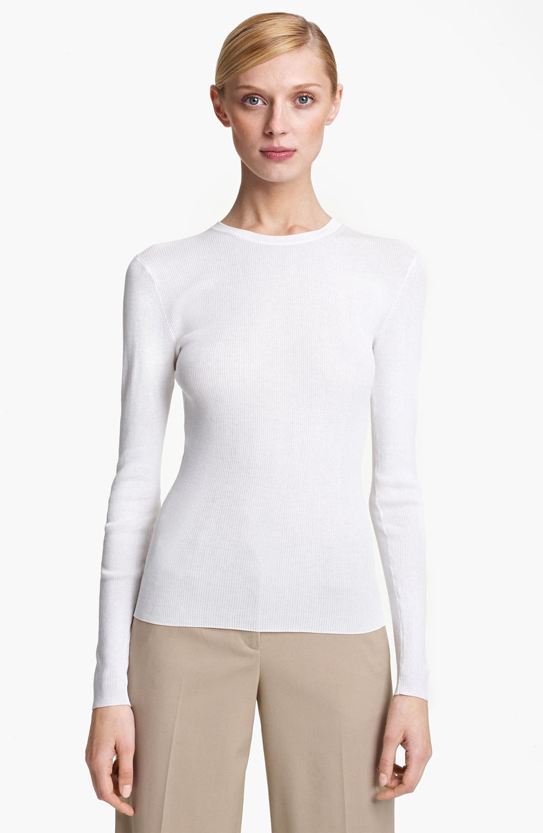 Main Image - Michael Kors Featherweight Cotton Crewneck Top