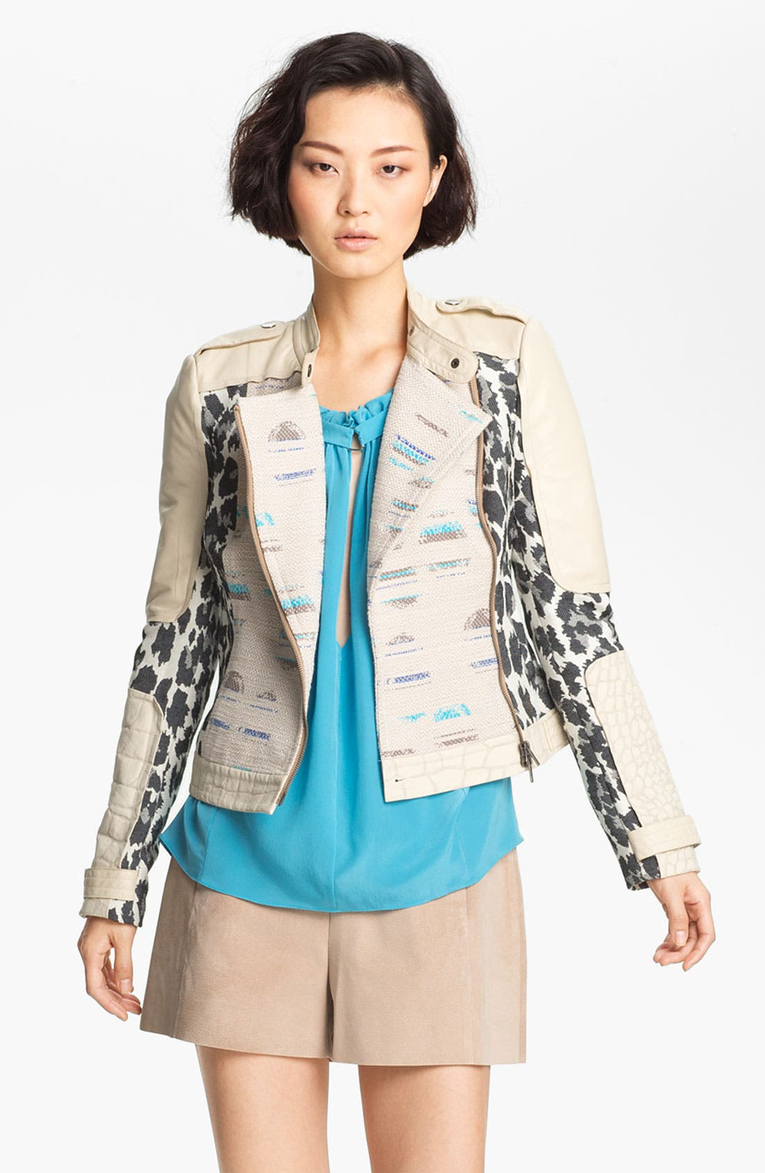 Main Image - Tracy Reese Jacquard & Leather Moto Jacket