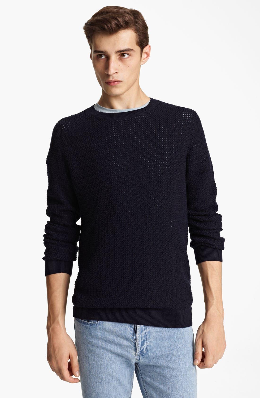 Alternate Image 1 Selected - A.P.C. Perforated Crewneck Sweater