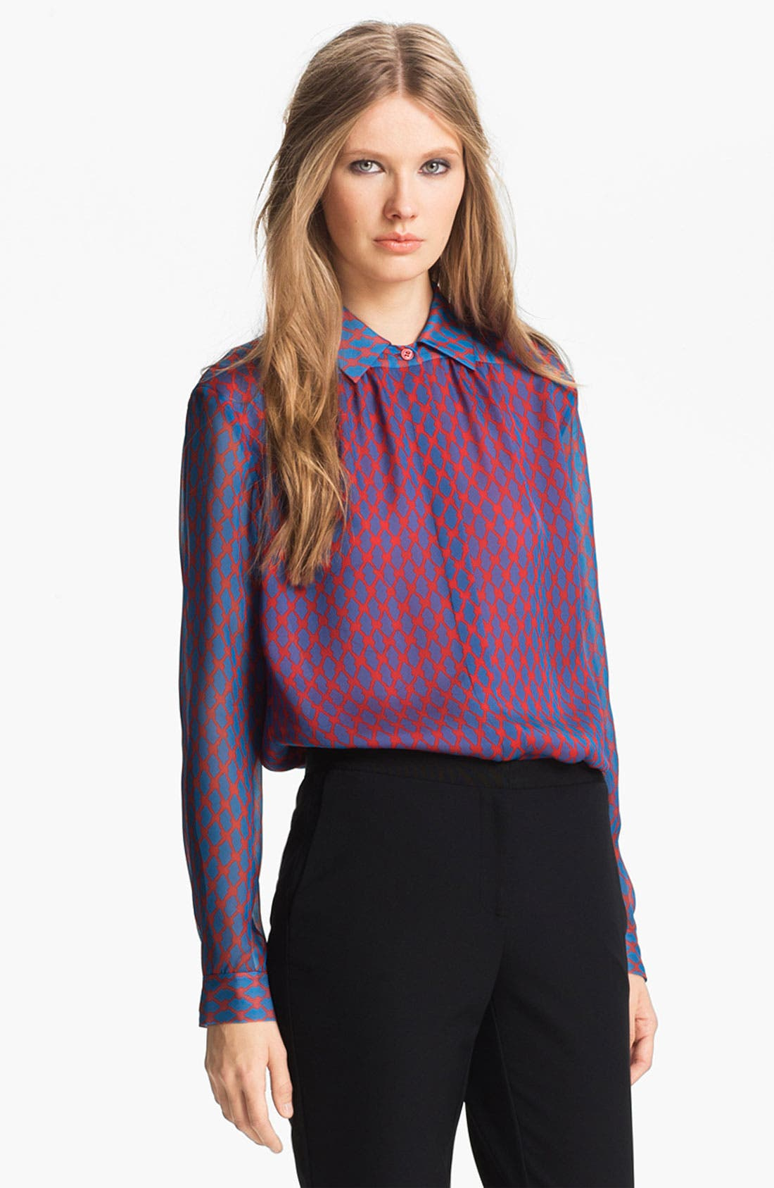 Main Image - Miss Wu Geometric Print Chiffon Blouse (Nordstrom Exclusive)